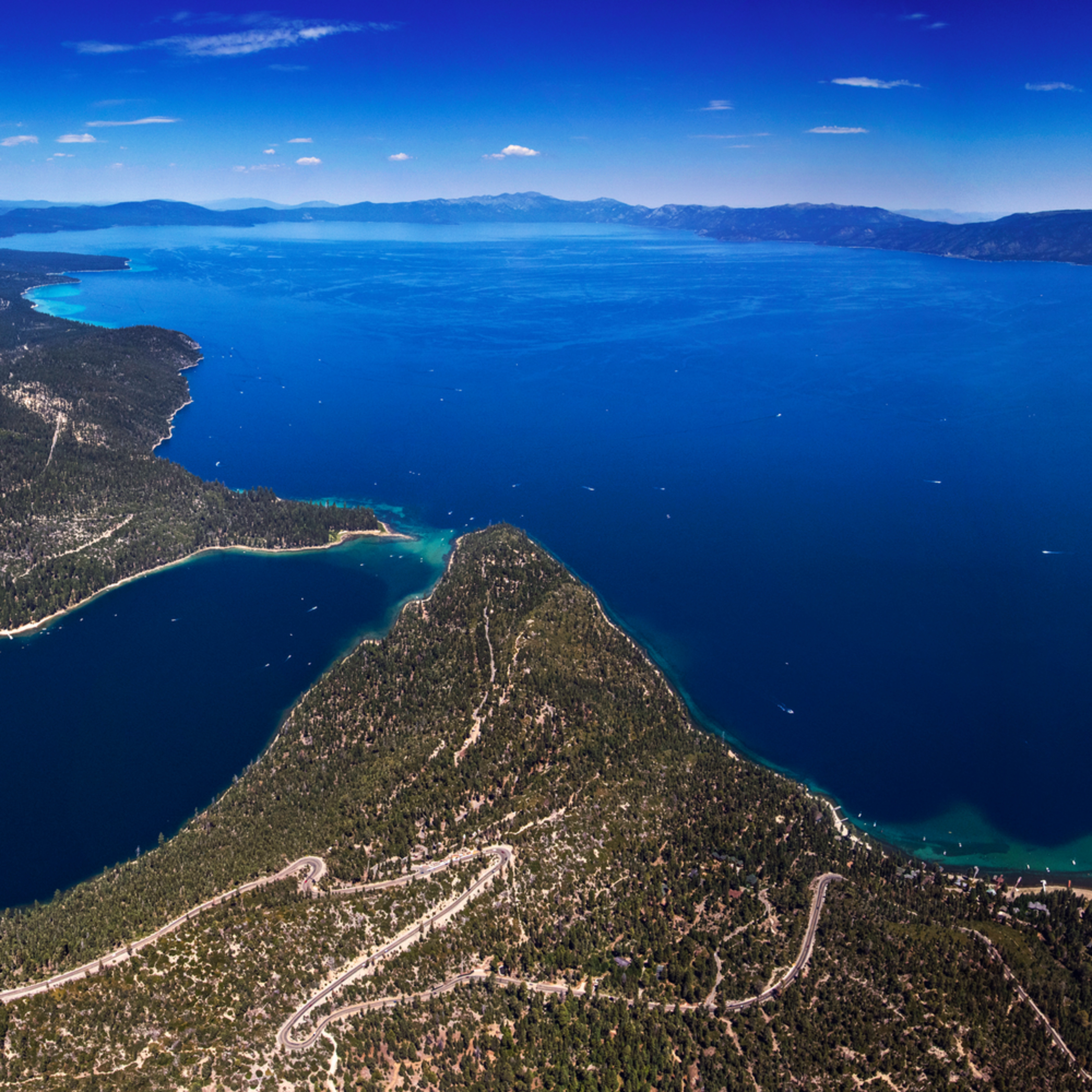 Emerald bay and lake tahoe aerial panorama vgrmcm