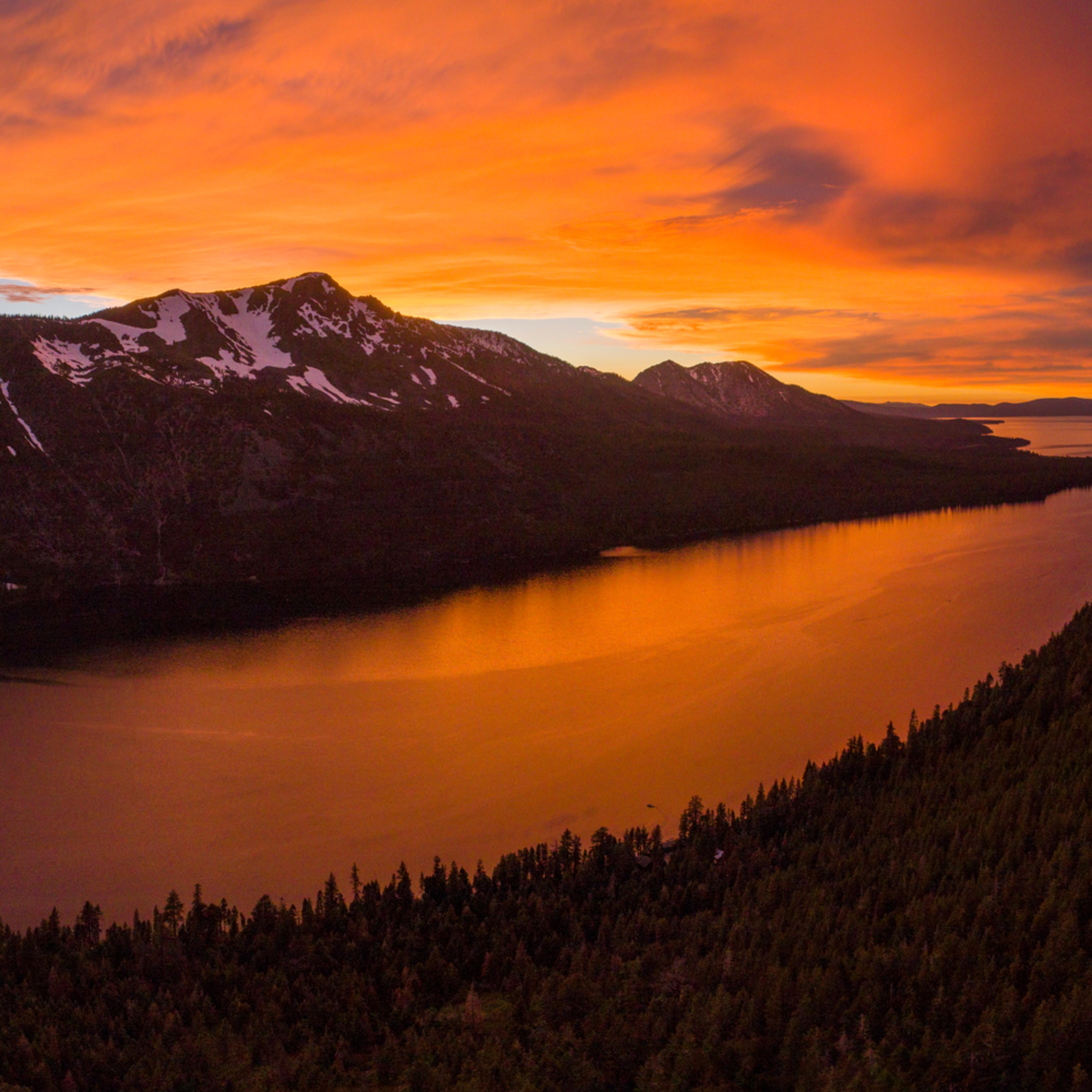 Fallen leaf lake sunset aerial 6 18 uru30u