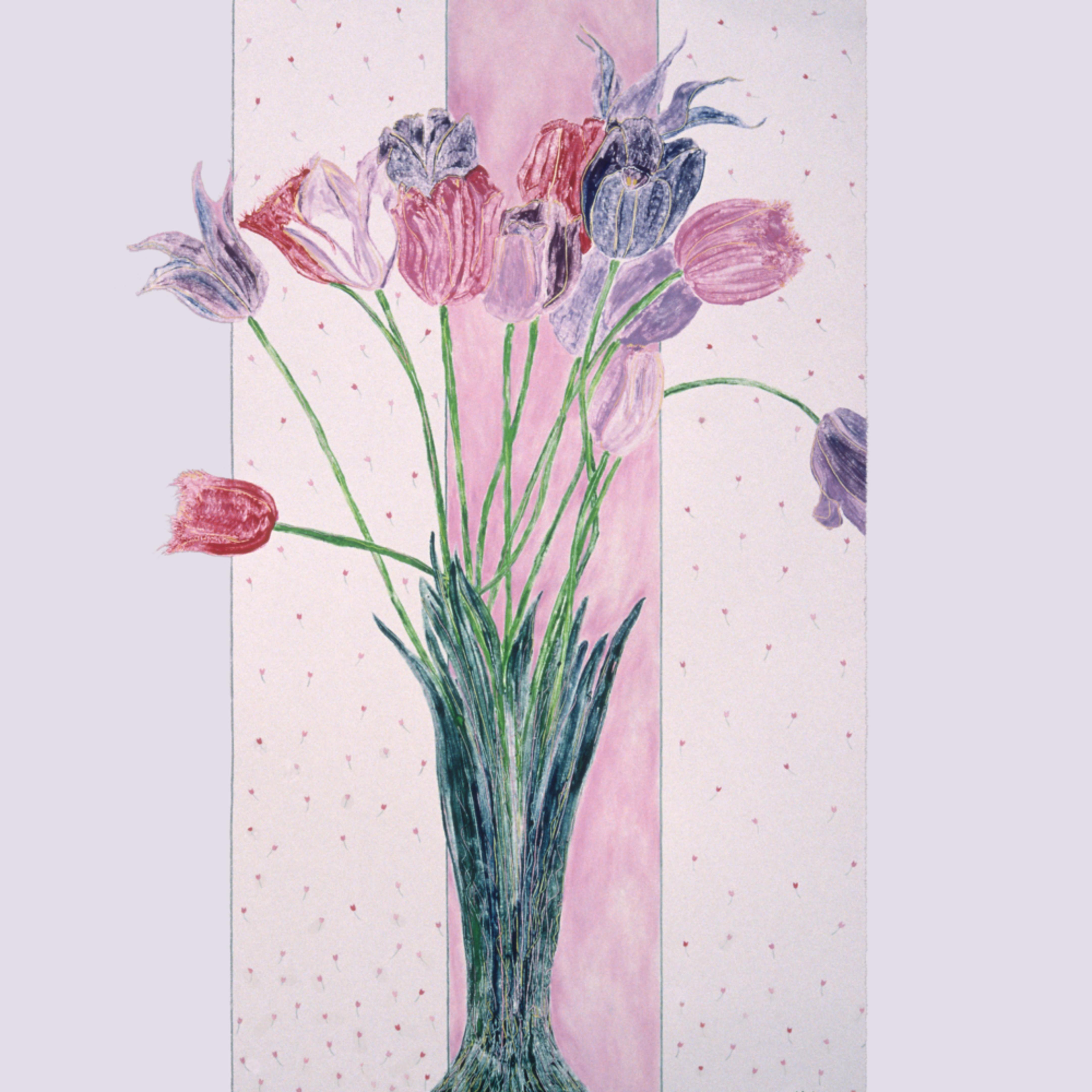 Dee van houten monotype blooming tulips uqqzgo