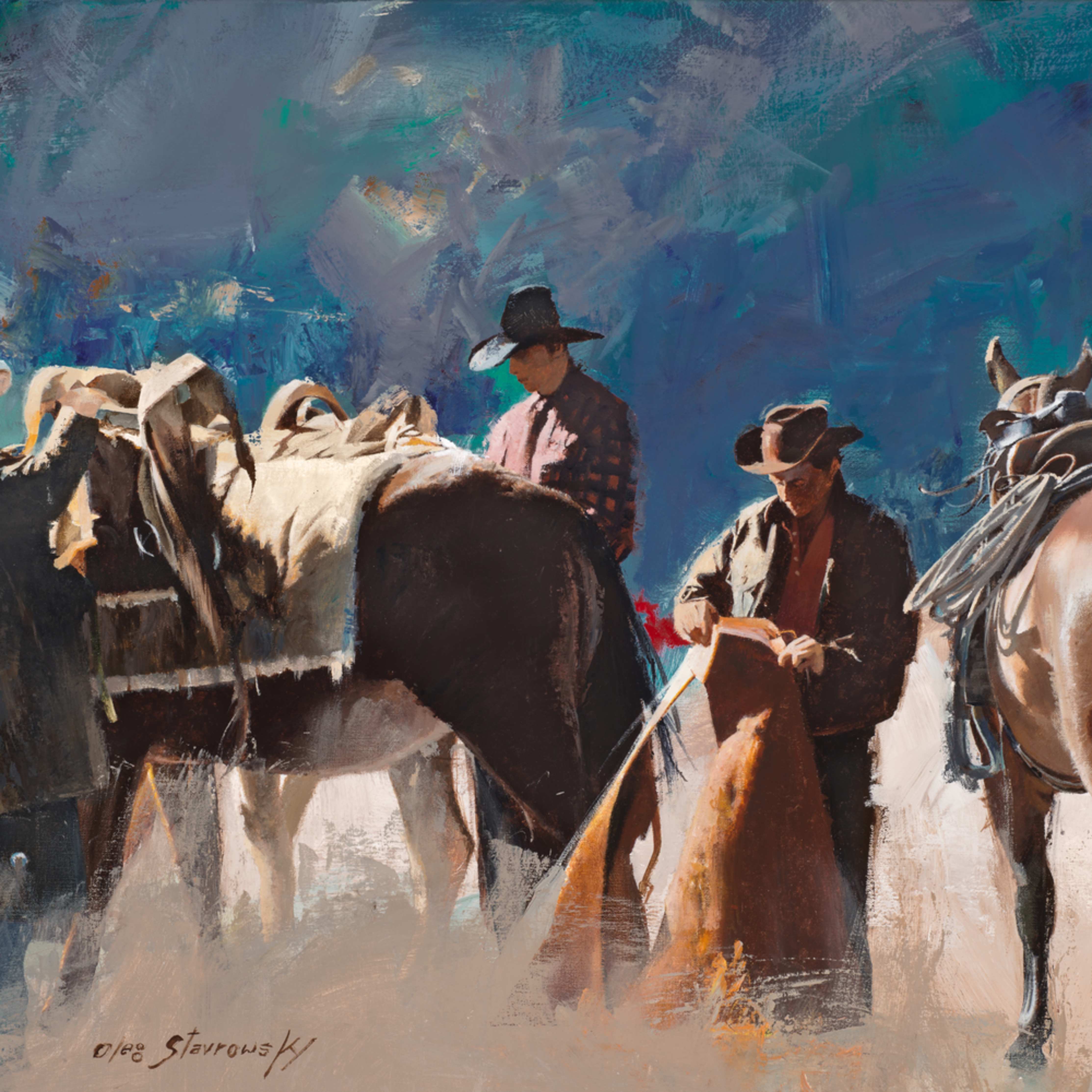 Fotor.three cowboys saddling up vchhzm