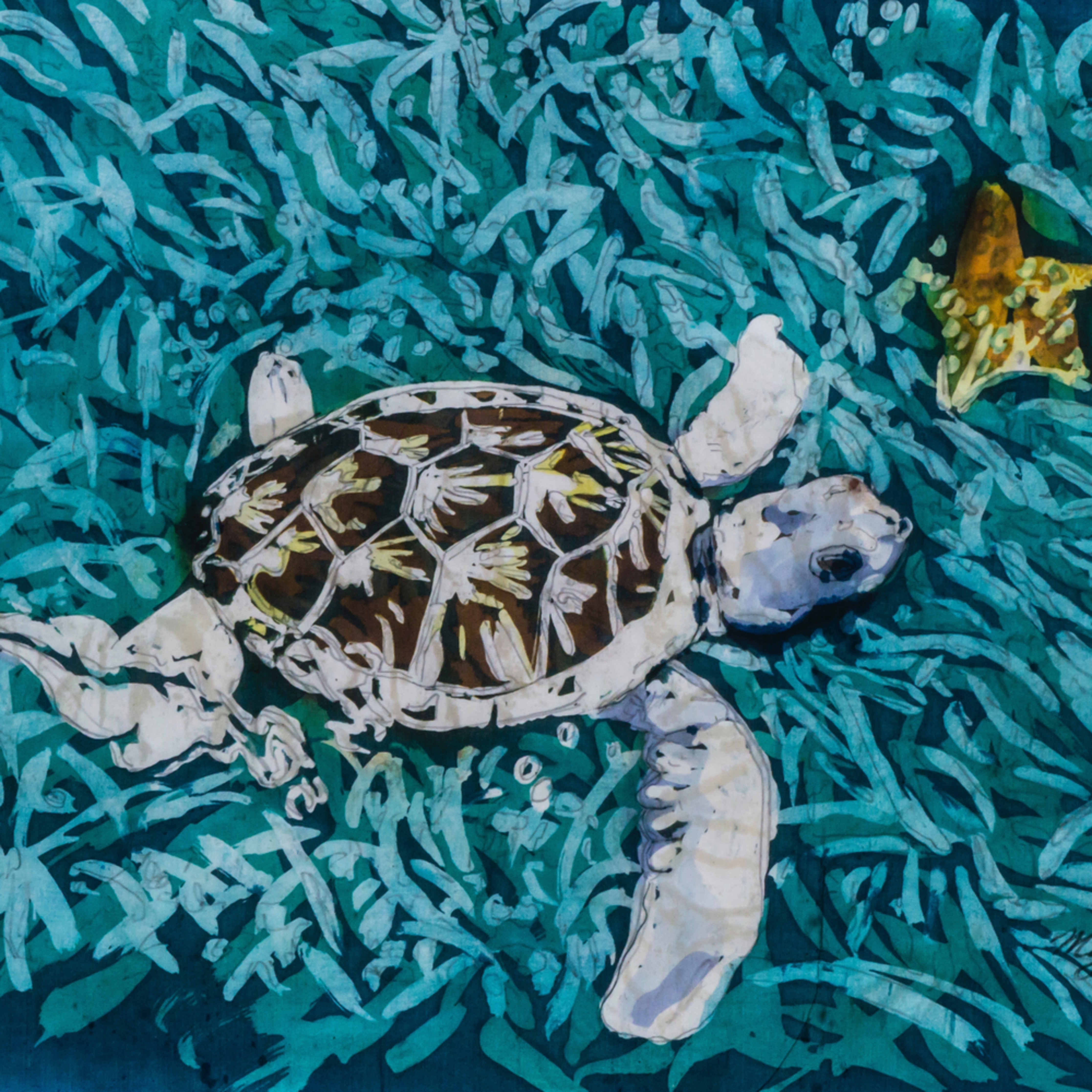 Muffy clark gill tortuga blanca 1 rozome on silk 16 x 20 in deu0g4