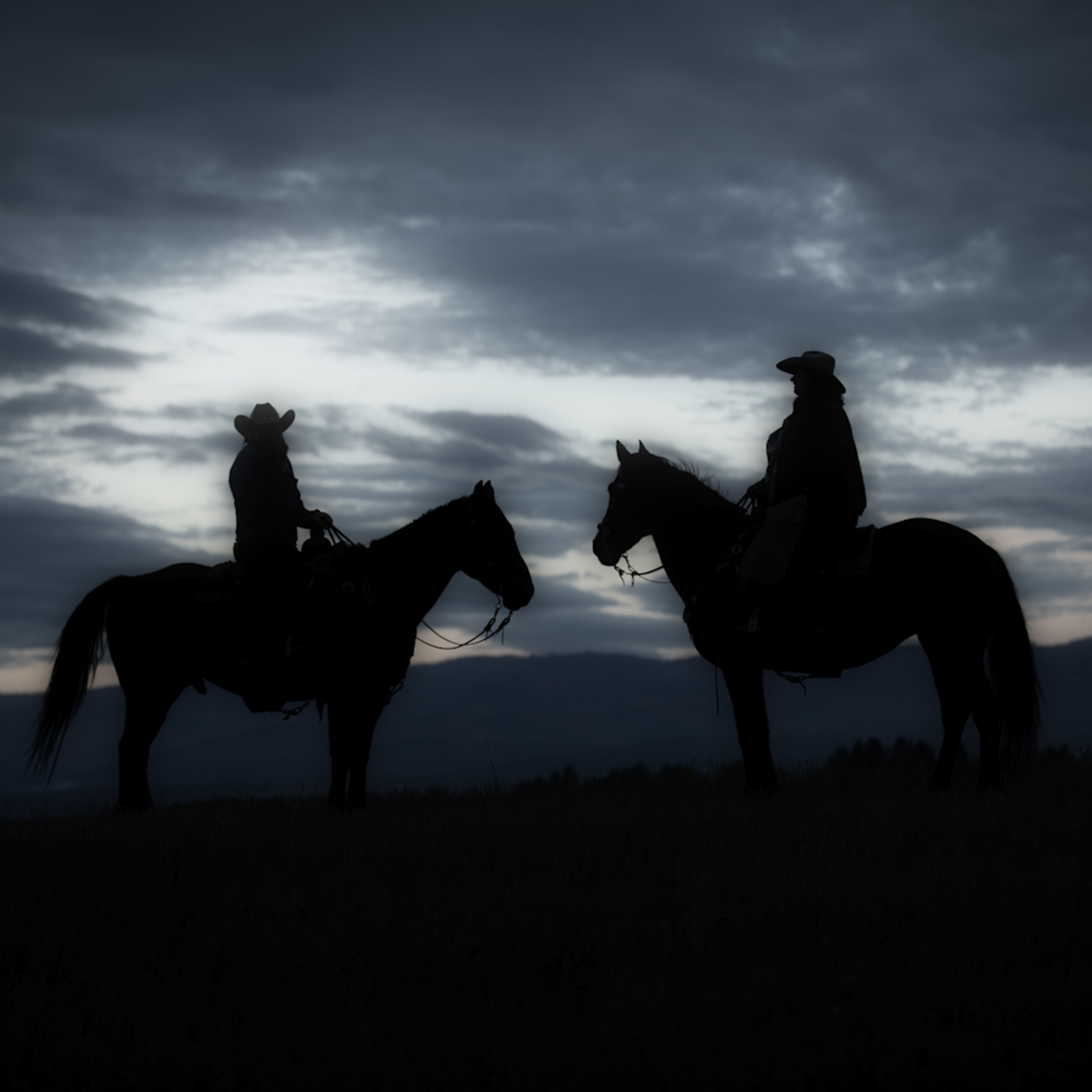 Horse and wrangler silhouete isawto