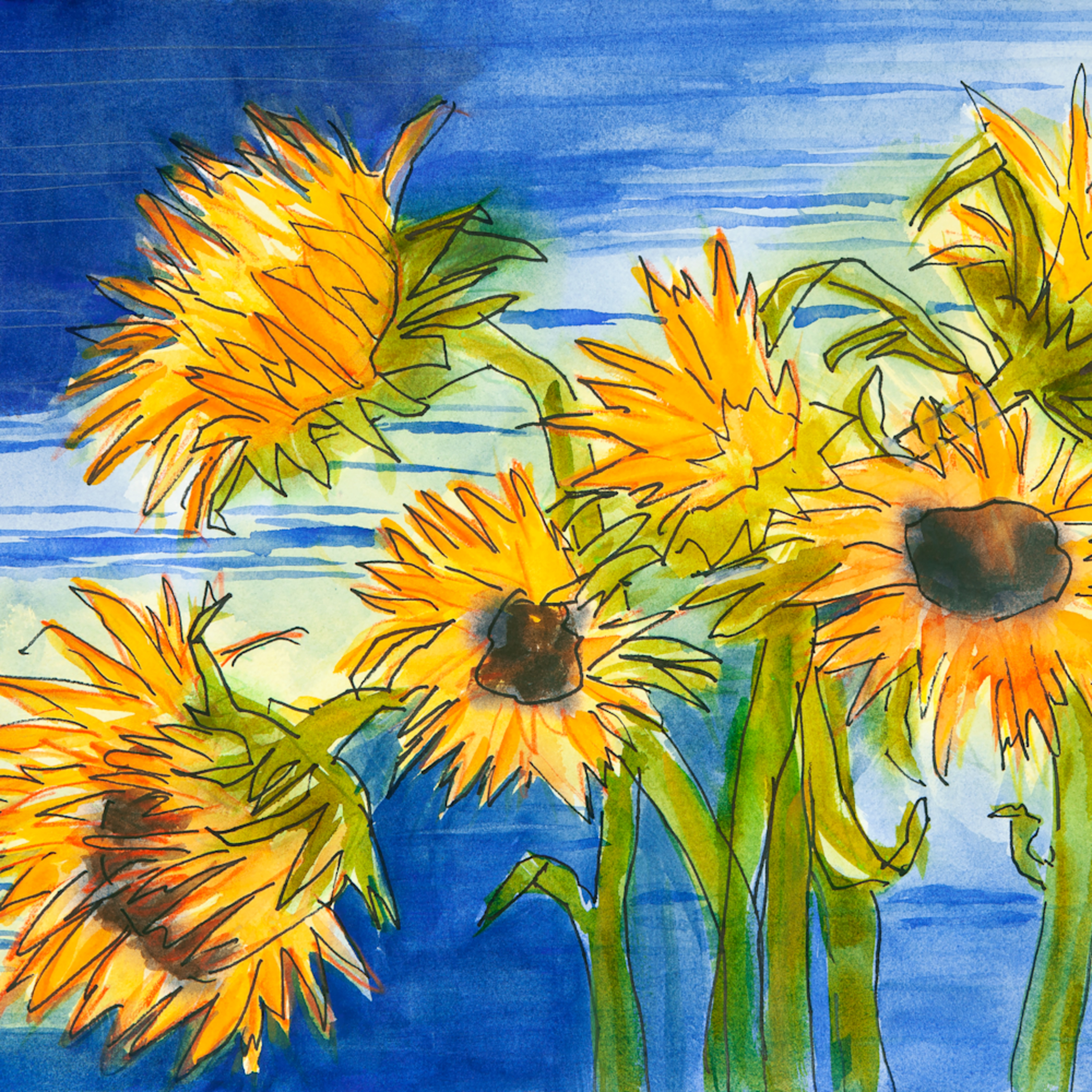 Sunflowers at the lake equg6g
