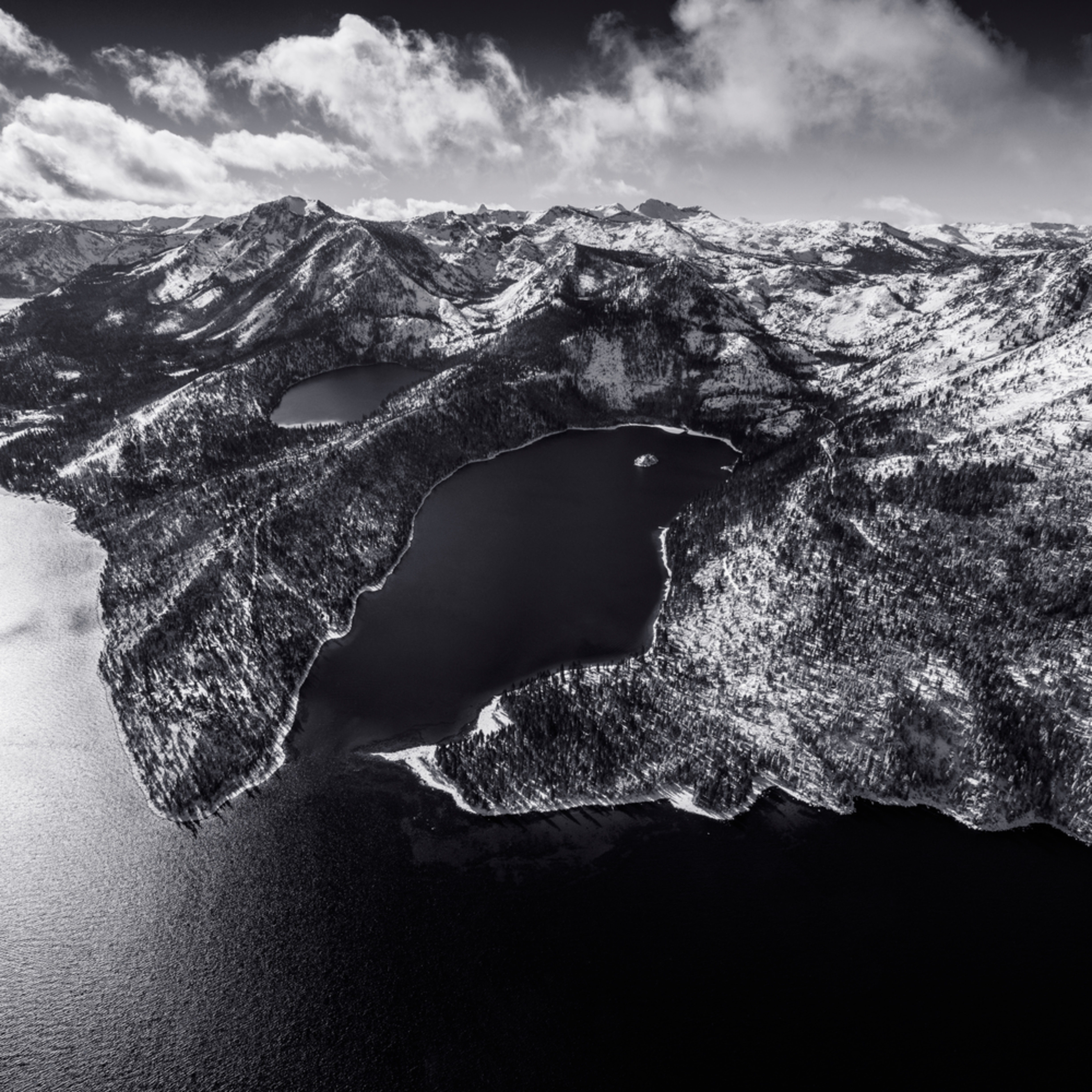 Emerald bay desolation aerial black and white signature jhzu8n
