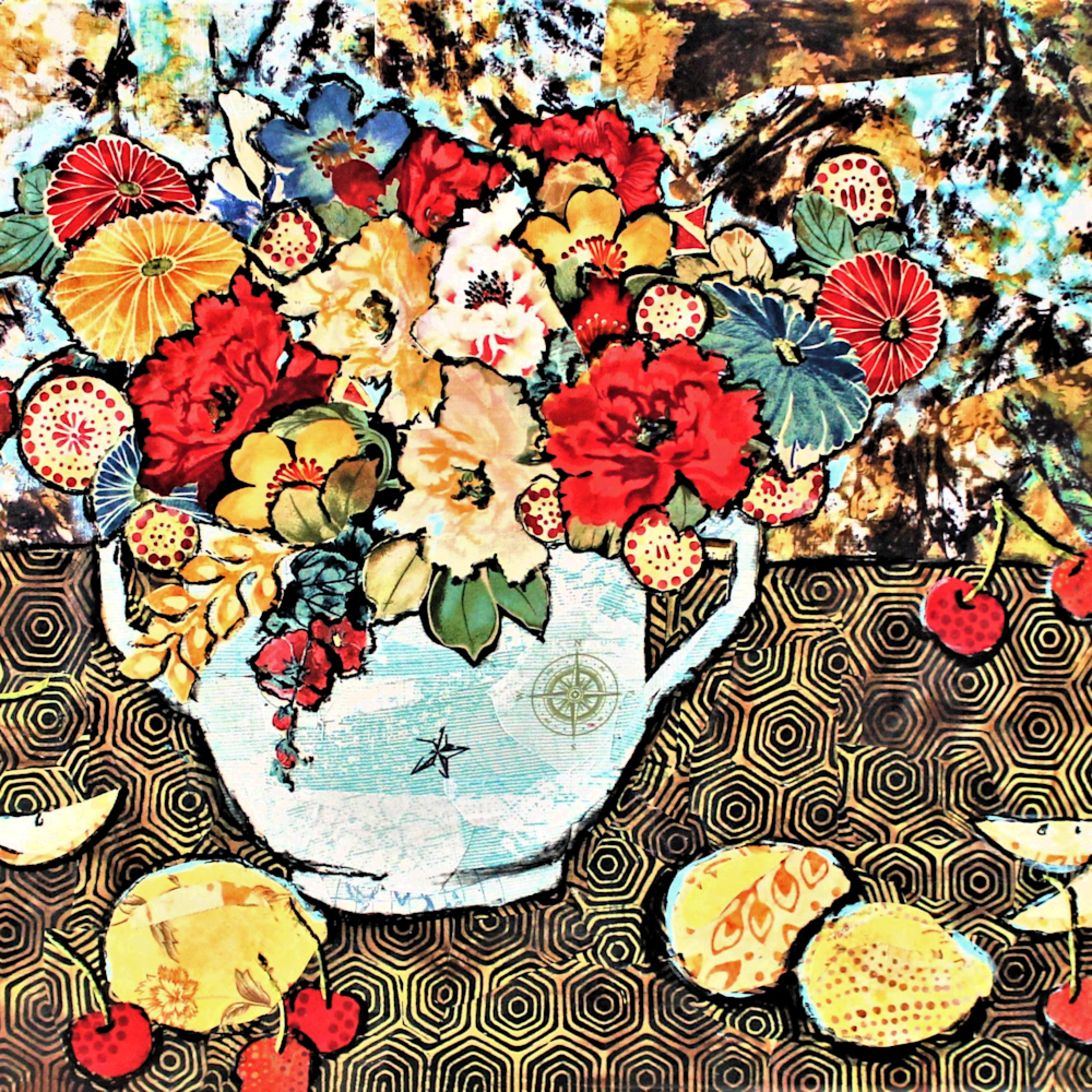 Still life with lemons and cherries print hd1ycj