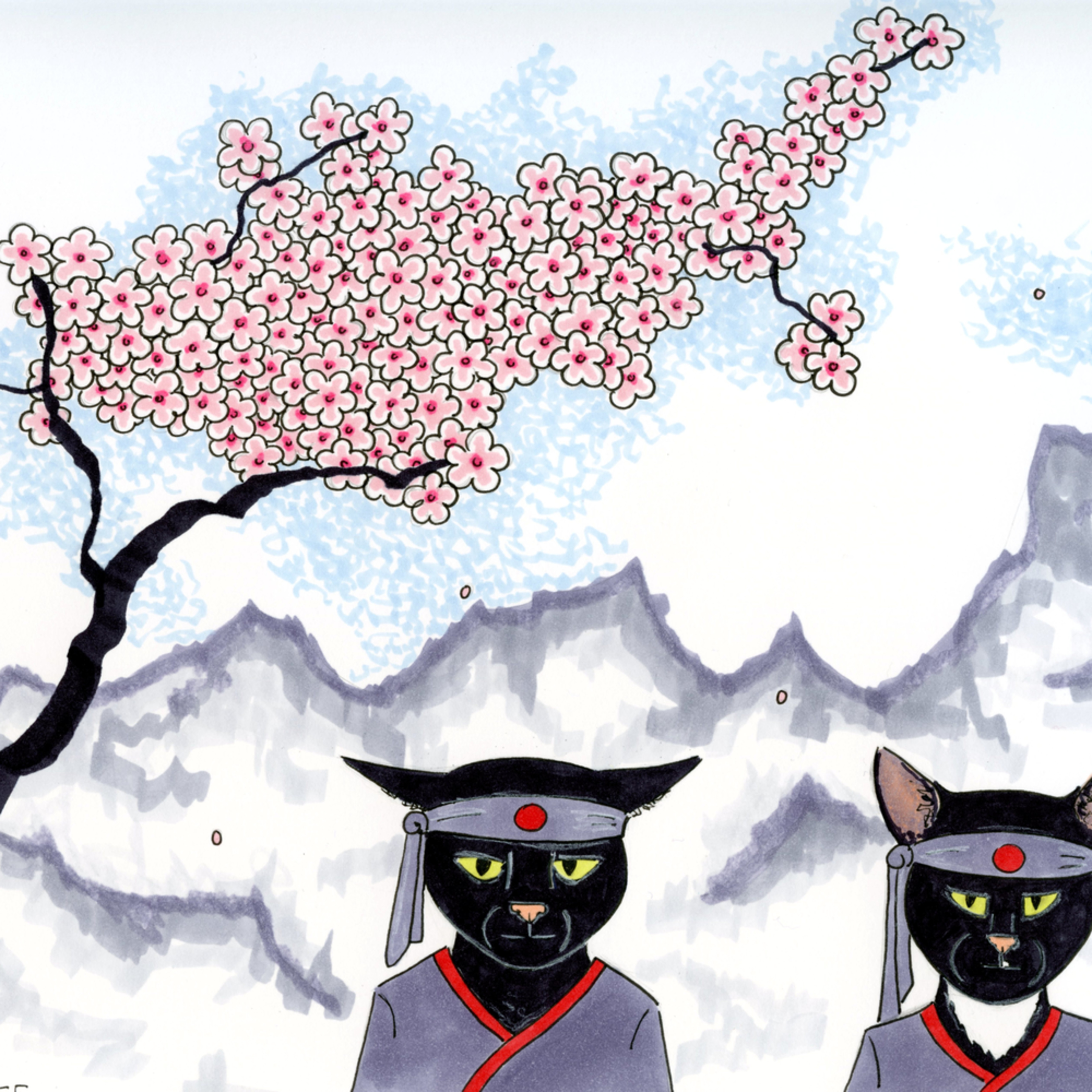 Two black cats and a cherry tree cneqjo