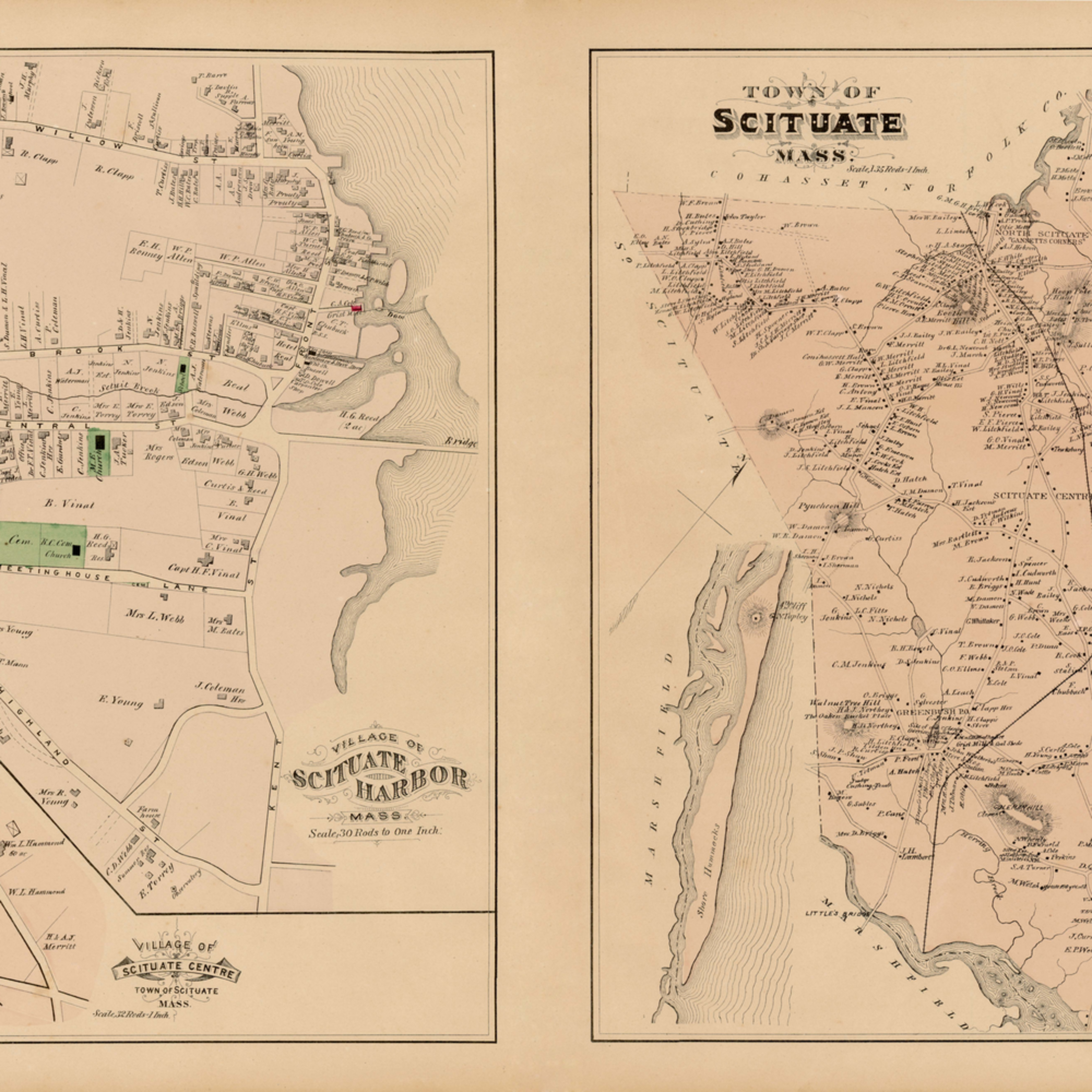 061 p79 scituate town scituate harbor village1879plate33 36 17.5x28 32 dnr2nz
