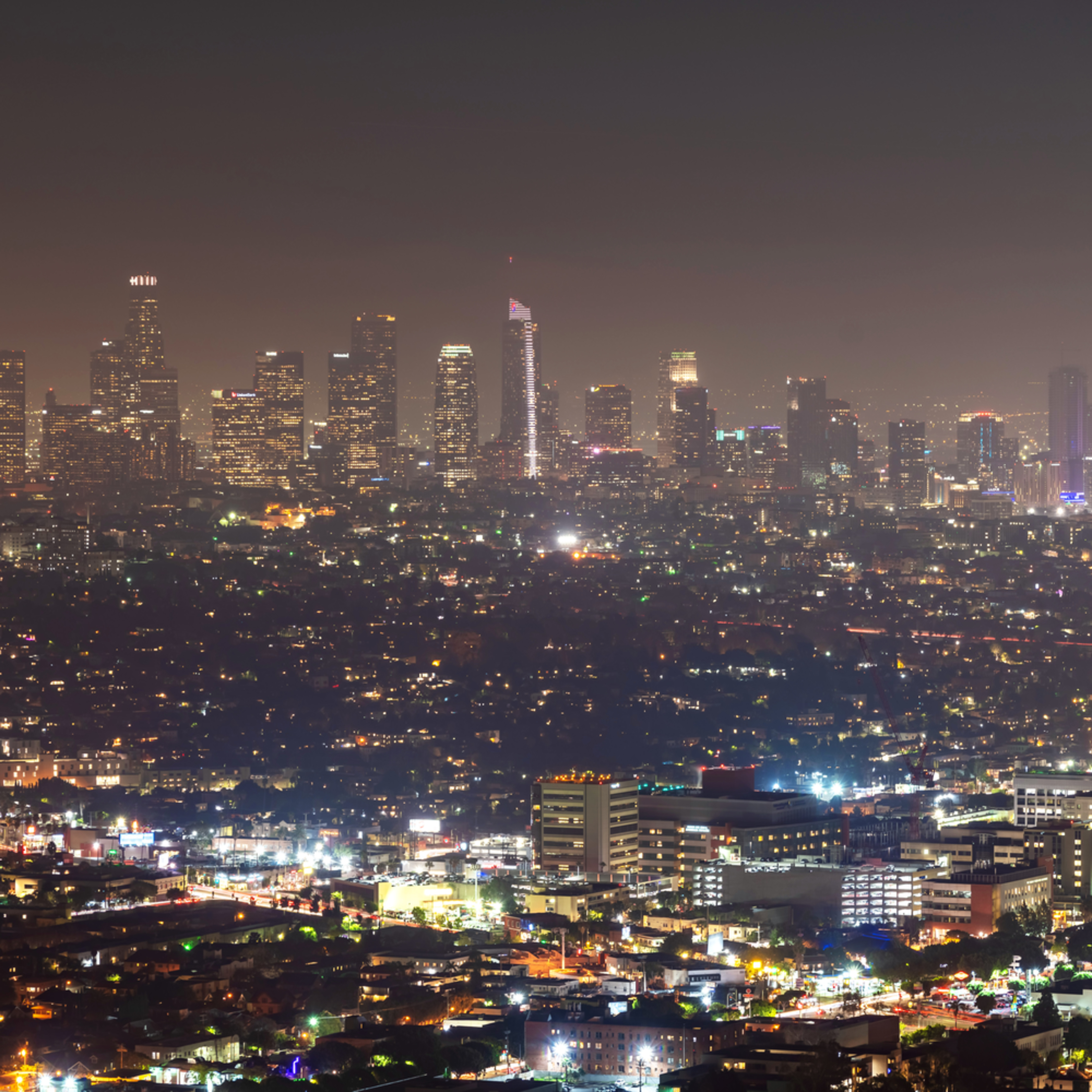 Los angeles skyline from the griffith observatory p9bhjb