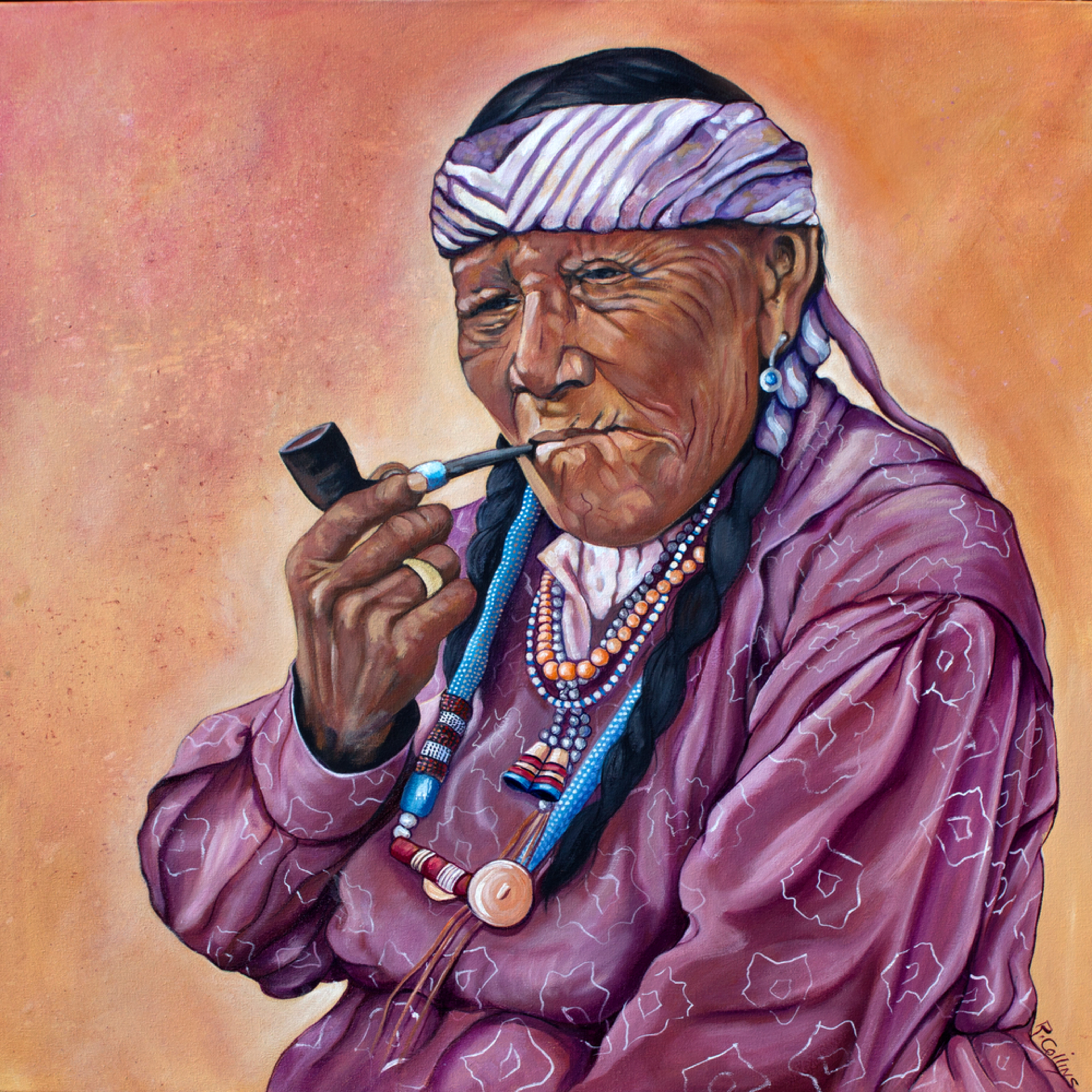 Navajo woman with a pipe 1 os4ieh
