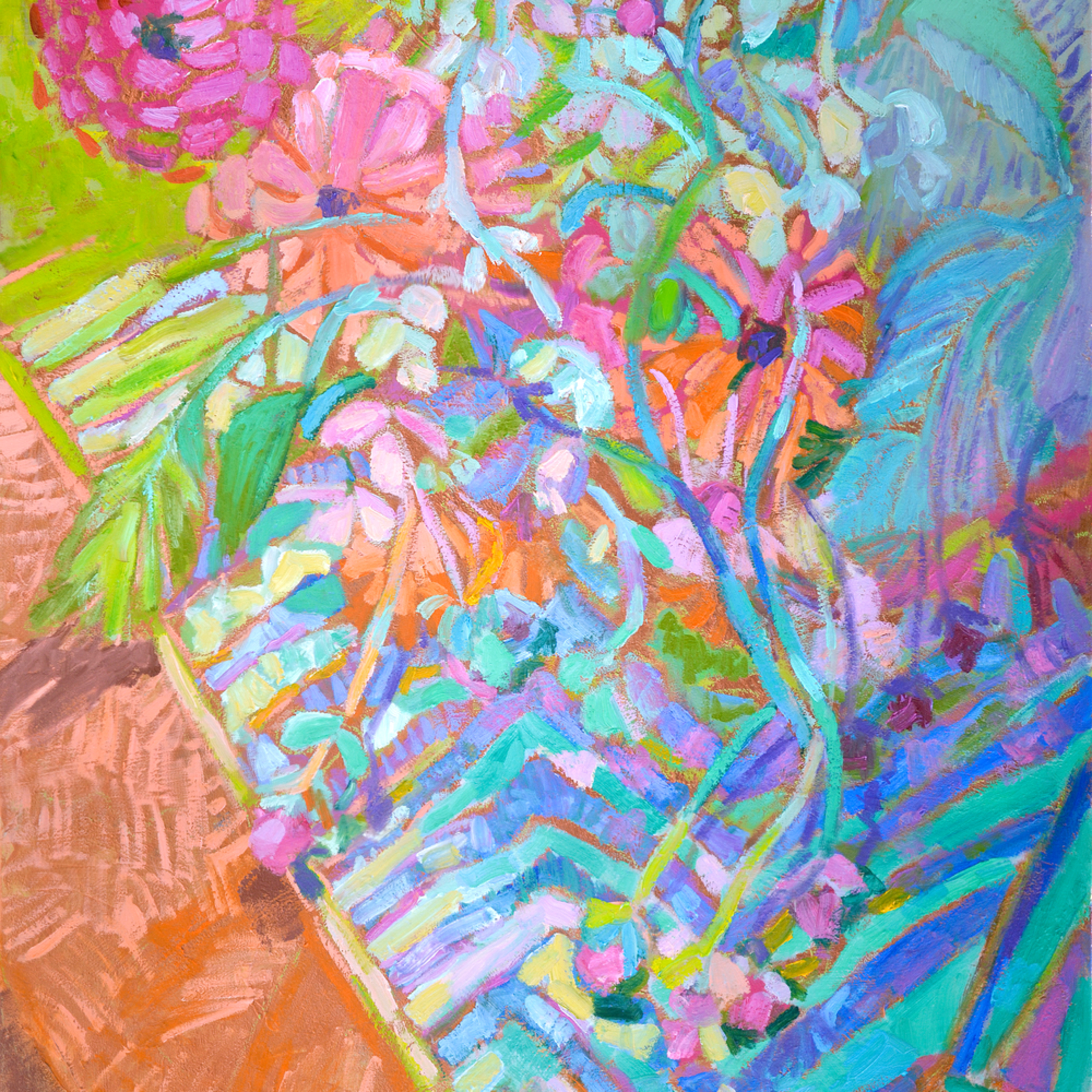 Large Abstract Flowers Fine Art Print On Canvas By Dorothy Fagan