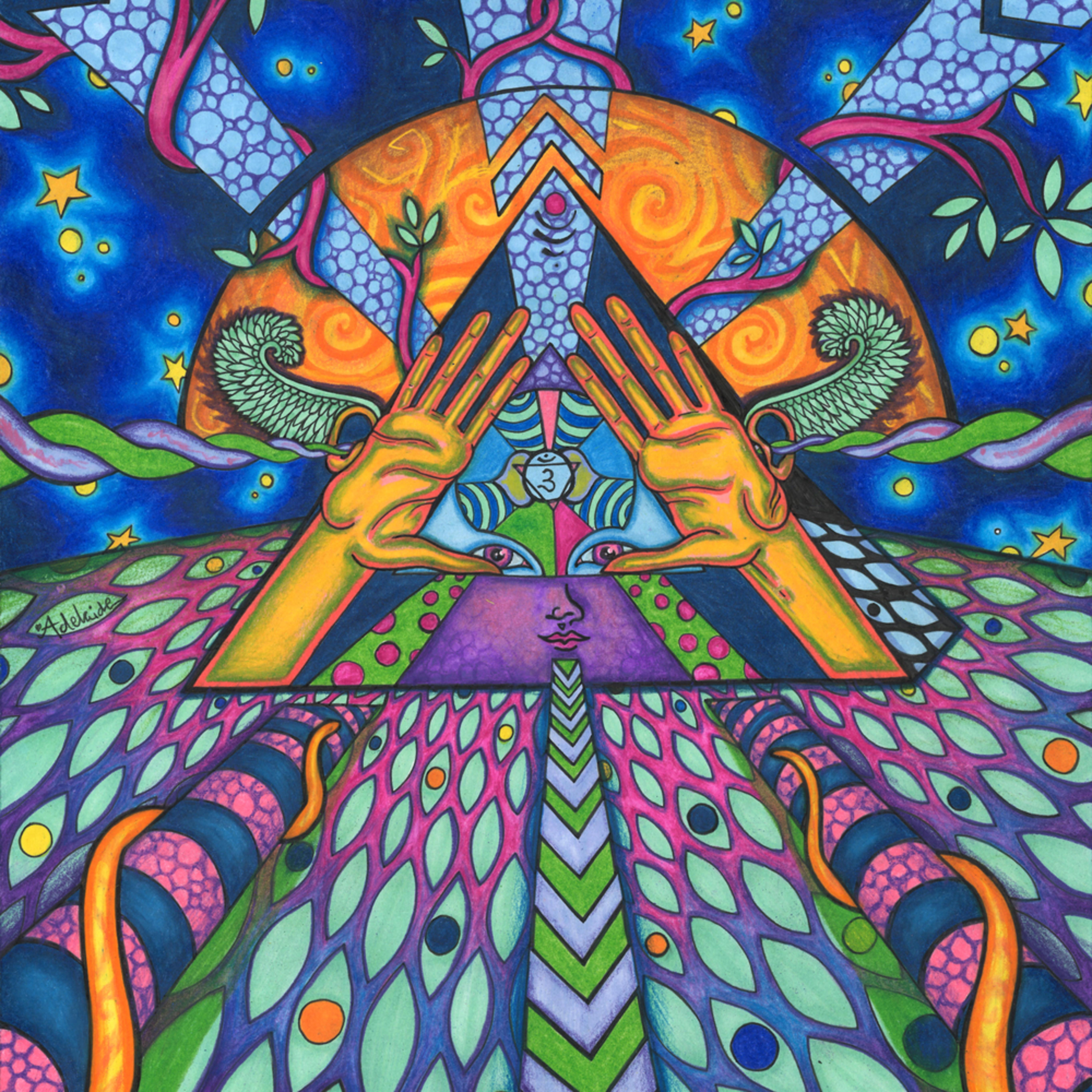 Third eye chakra with color pjrila
