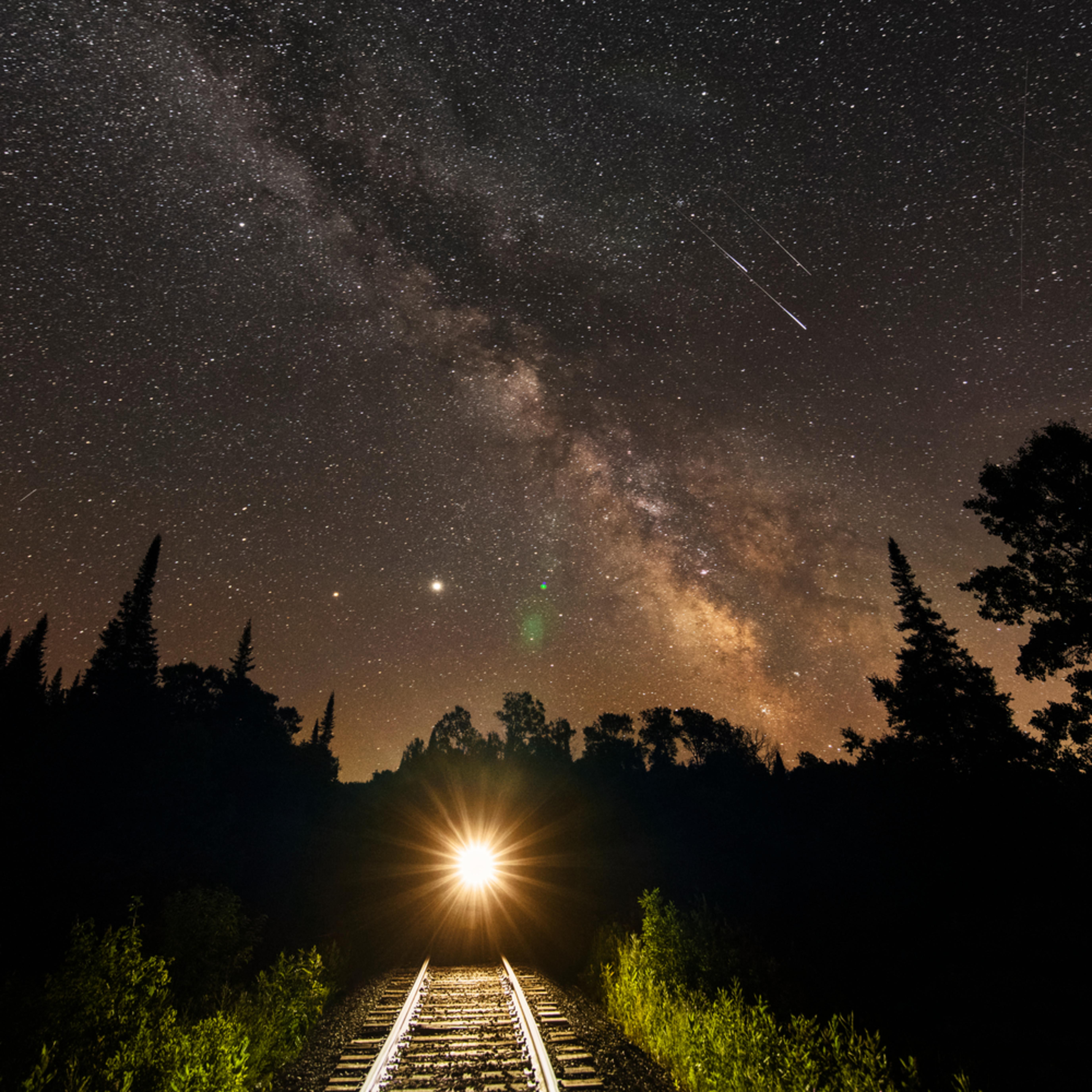 Milky way train horizontal shooting stars nfefv1