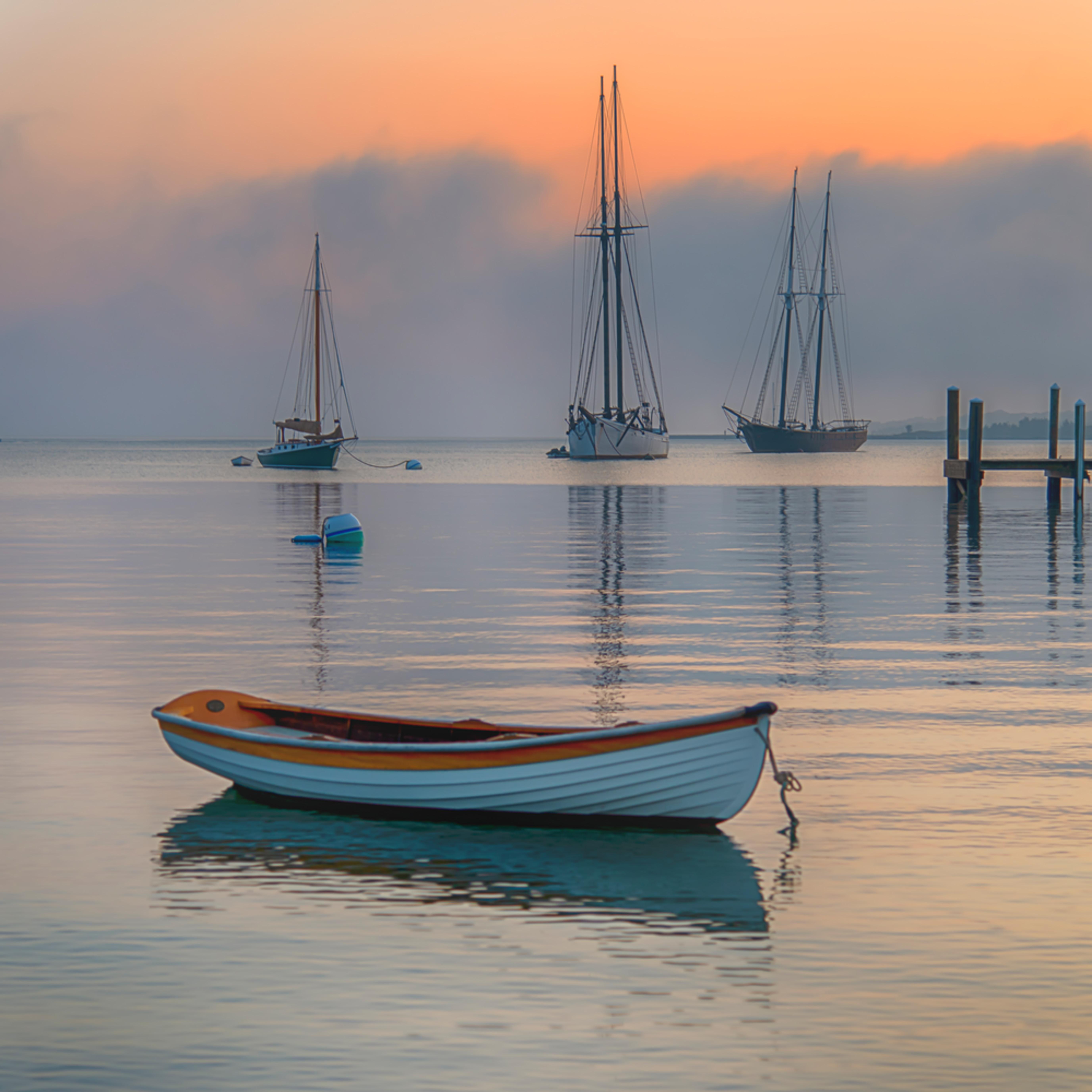 Harbor dory summer fog qrrcby