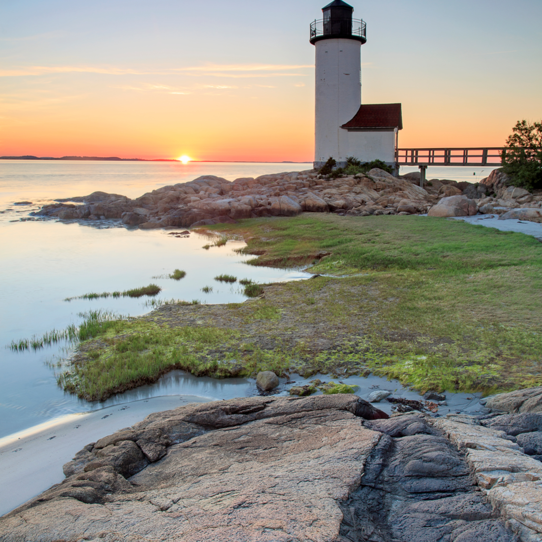 Annisquam lighthouse sunset vertical print muovzf