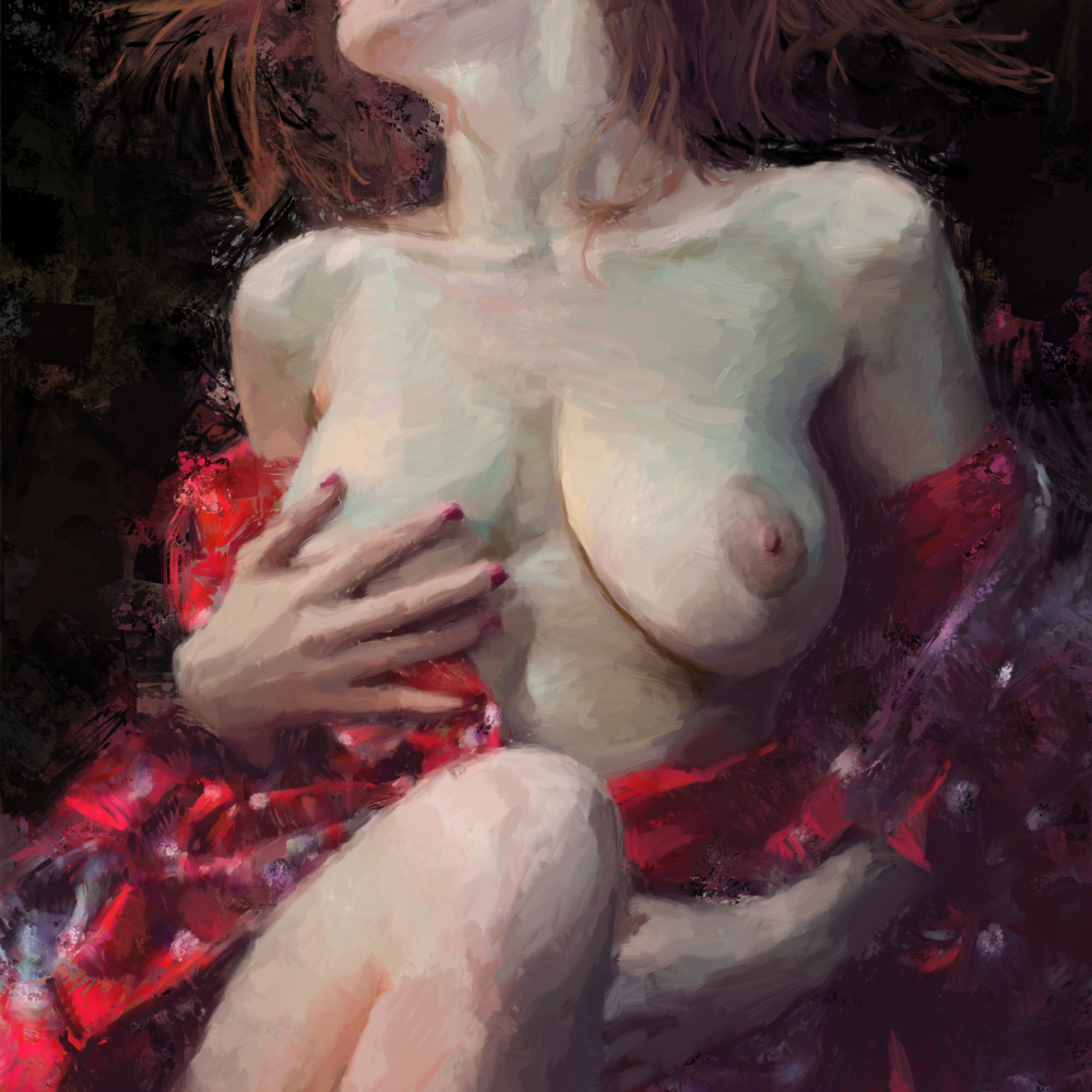 Nude in red robe 30x20dig vrp4na