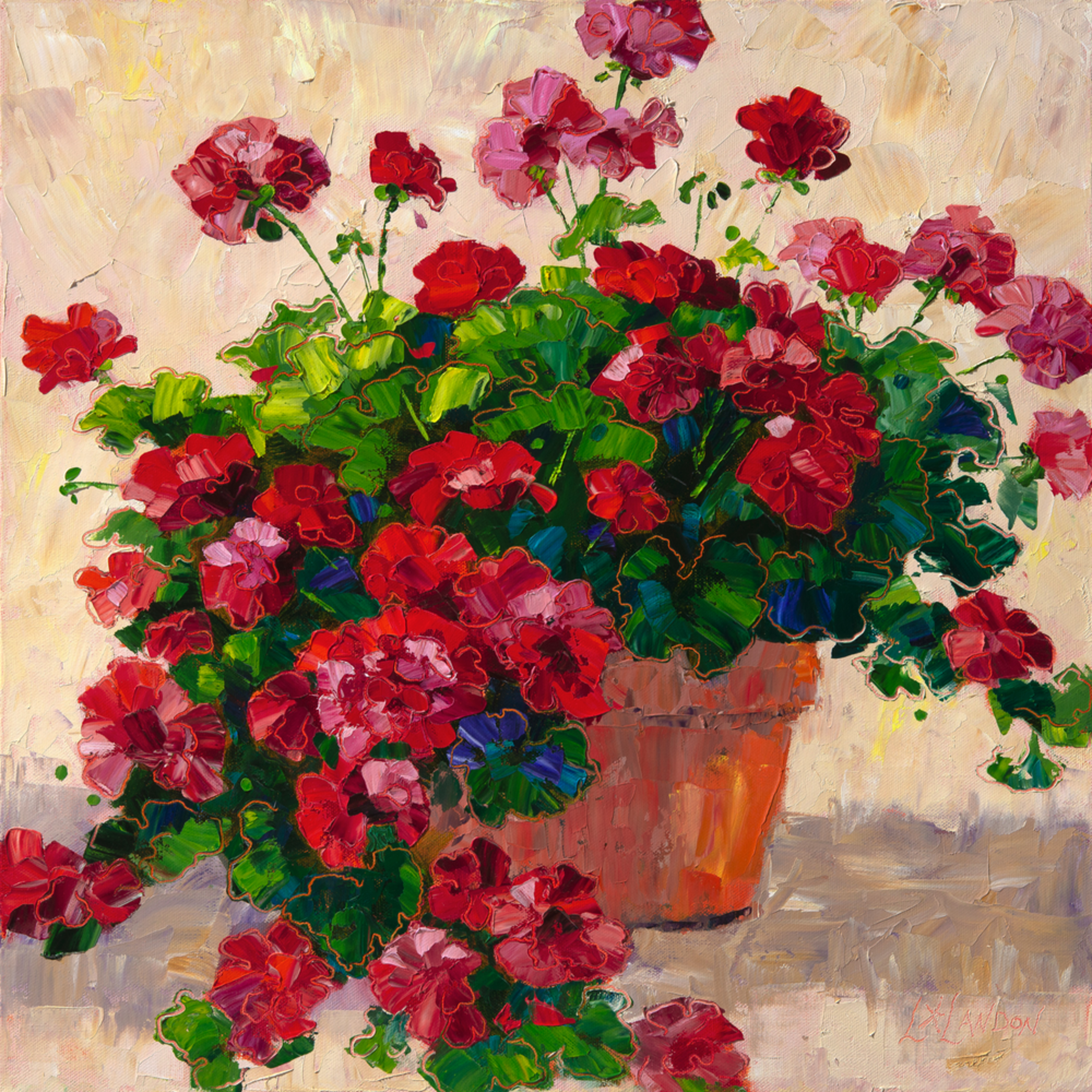 Theres just something about red geraniums in a terra cotta pot   original size   20 x 20 tteqoa