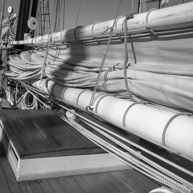 Foresail and mainsail flaked   schooner californian wbu3uu