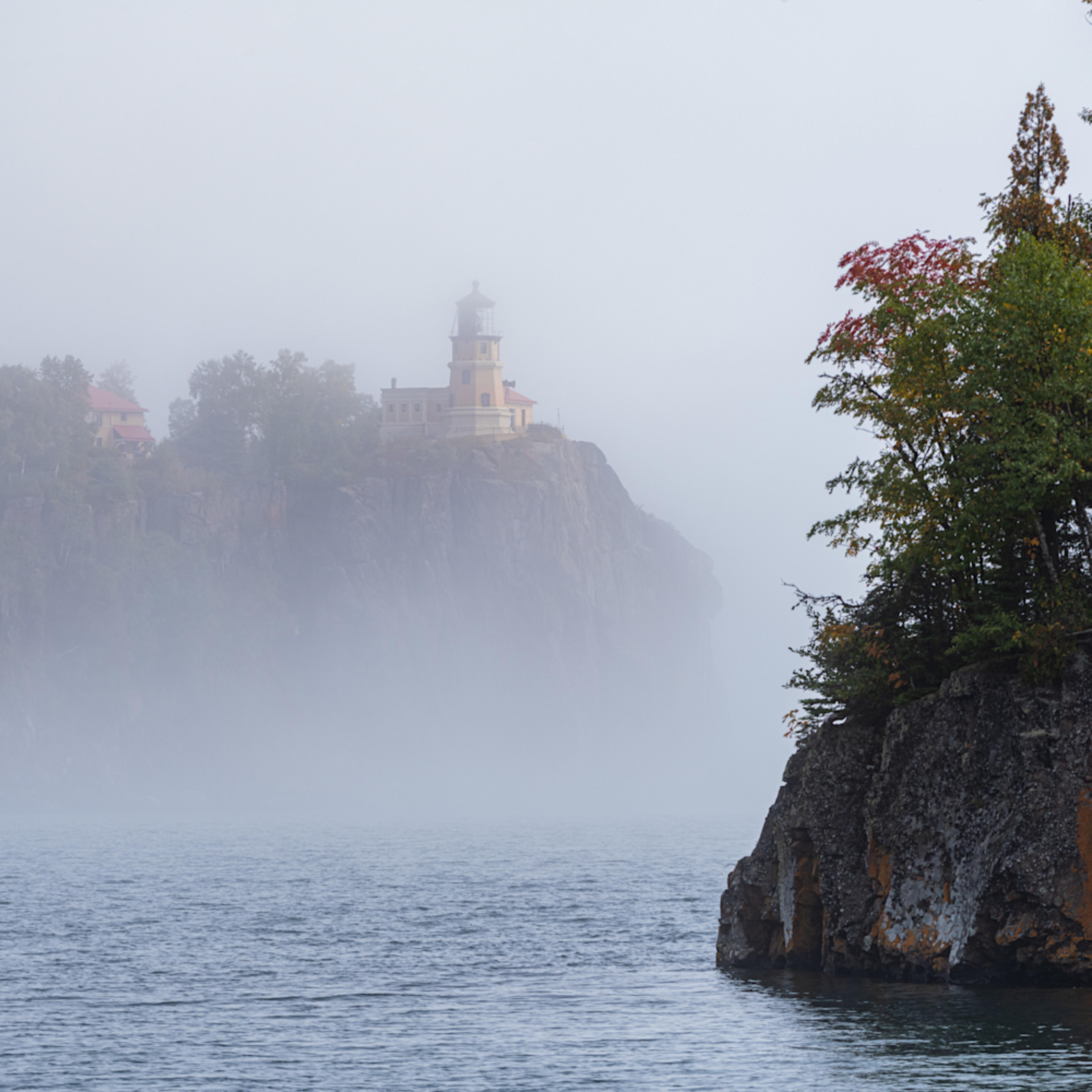 Split rock in fog u9cz1p