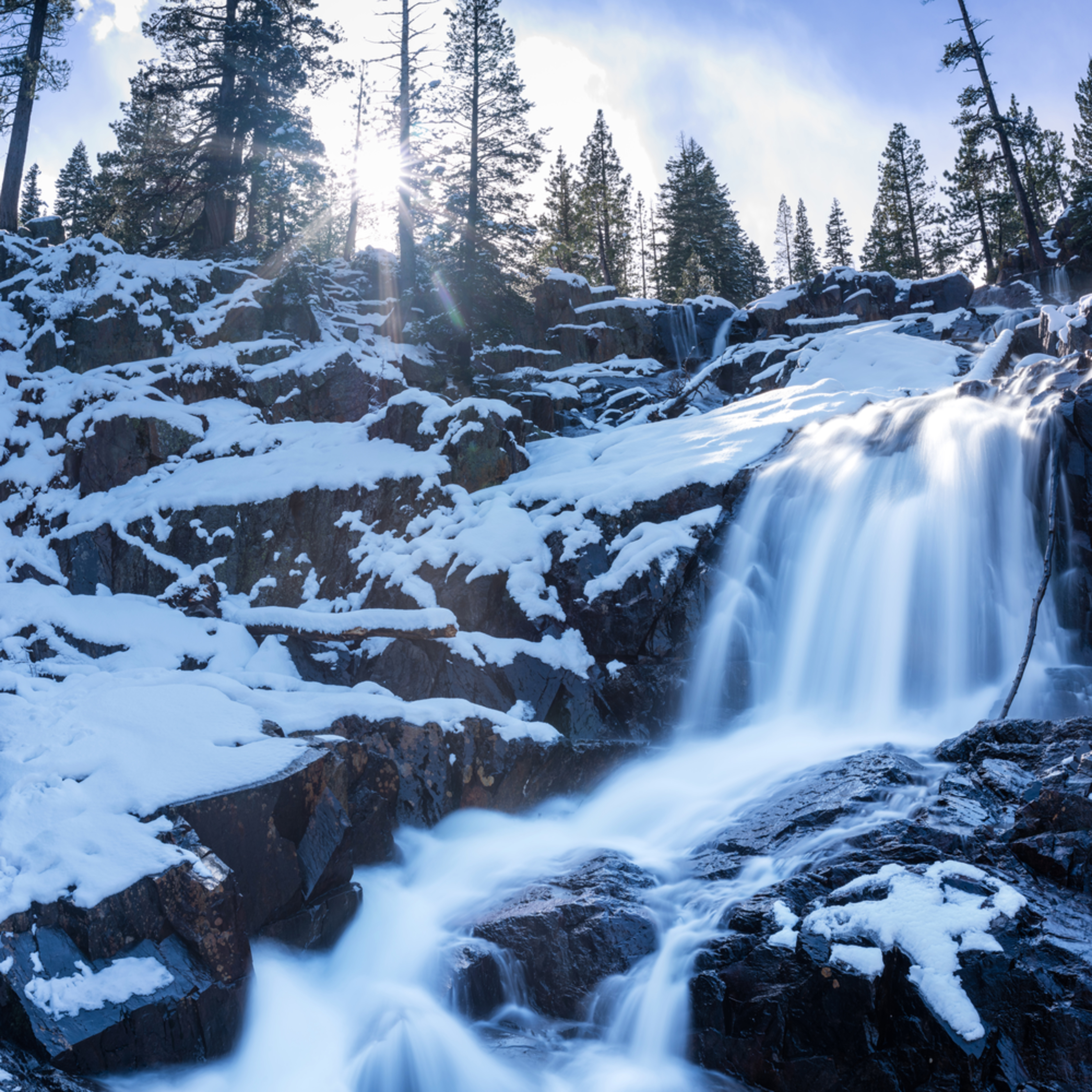 Glen alpine falls winter verticle pano tnnvk9