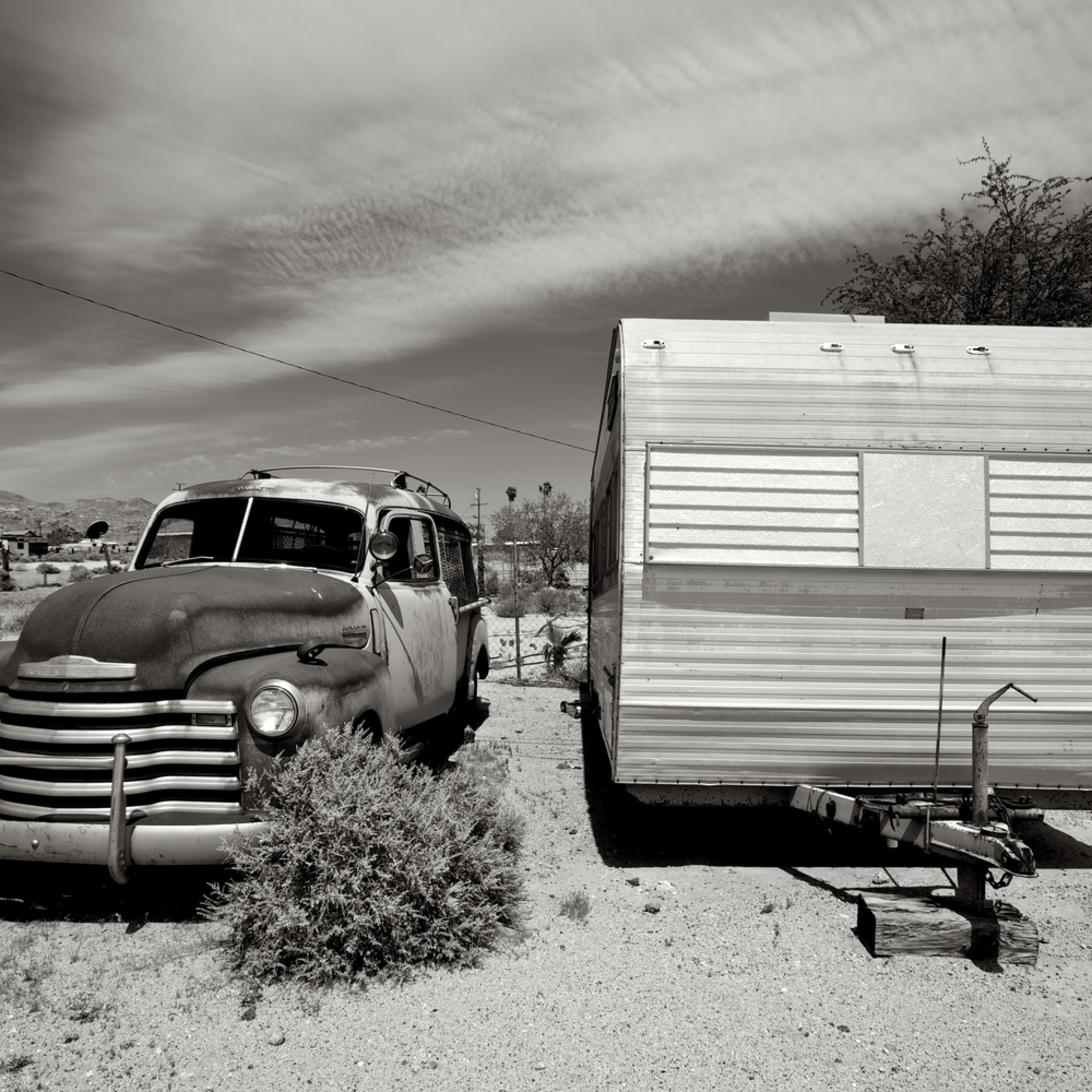 Vintage police wagon and ideal trailer trona california dze9p3