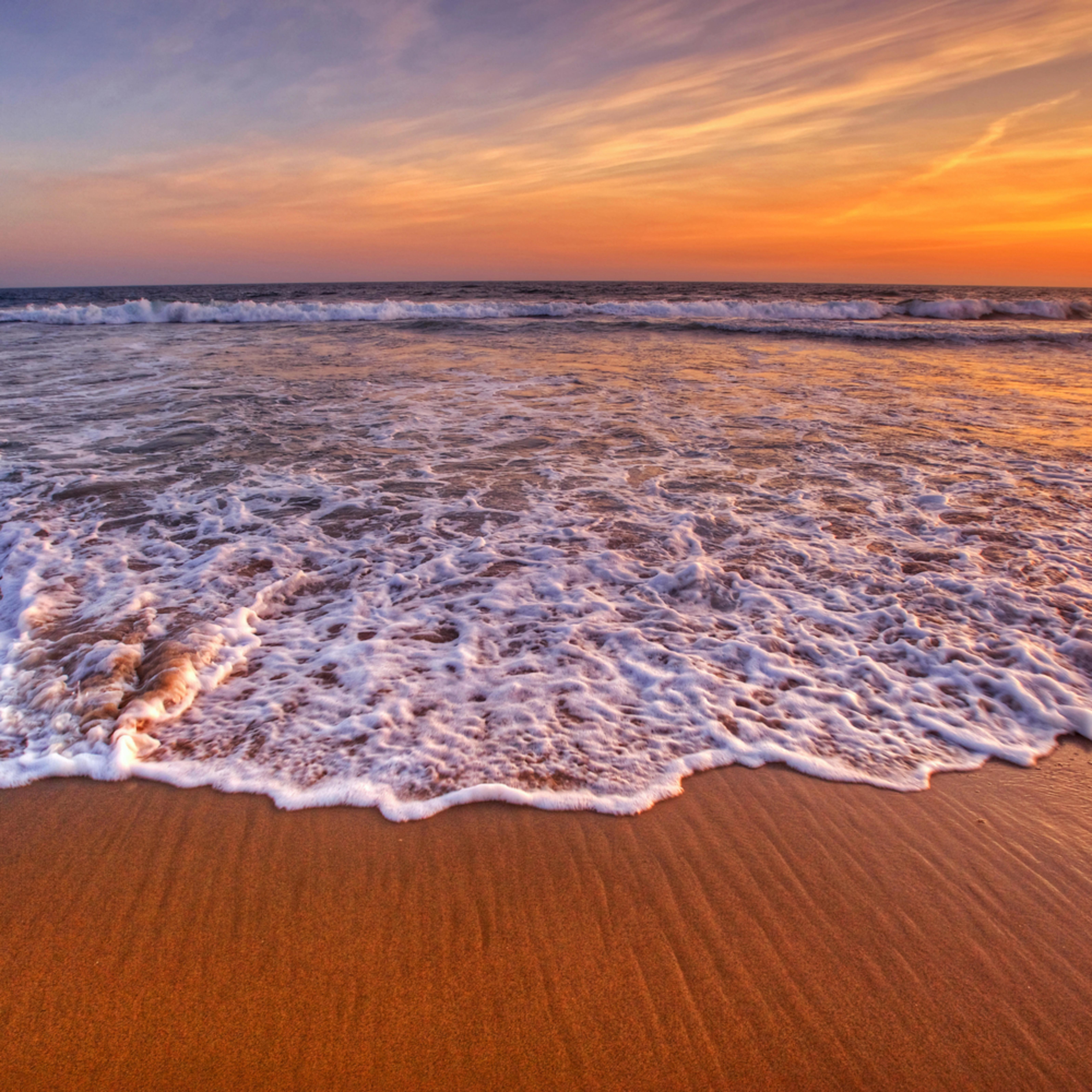 Huntington beach whitewash sunset california pd0md2