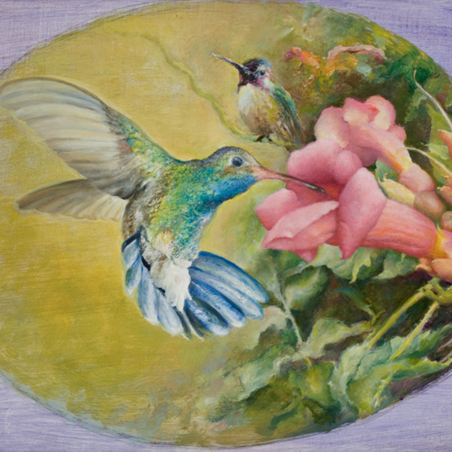 Two hummingbirds   rafferty   painting mkqcnm