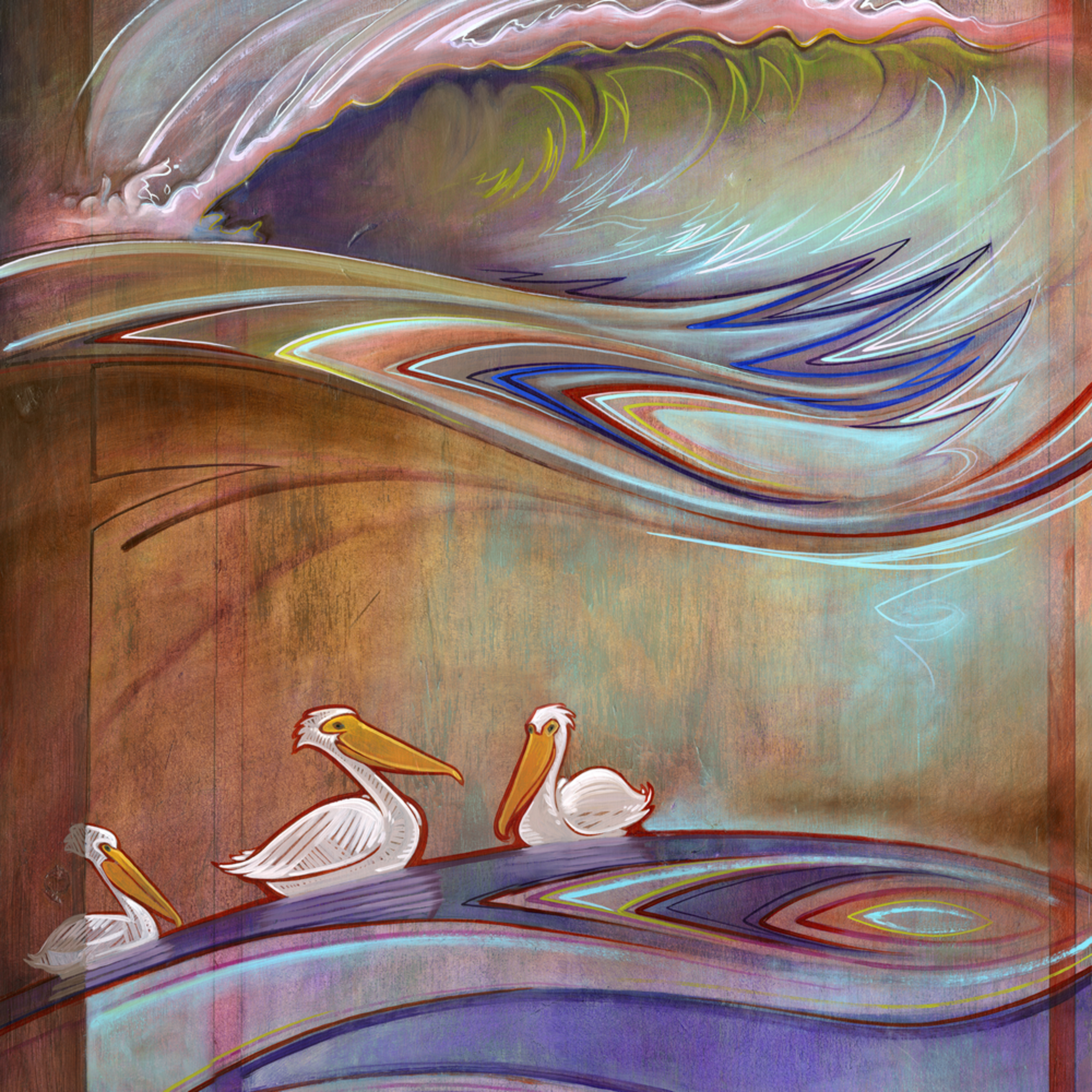 Three pelicans fatecd
