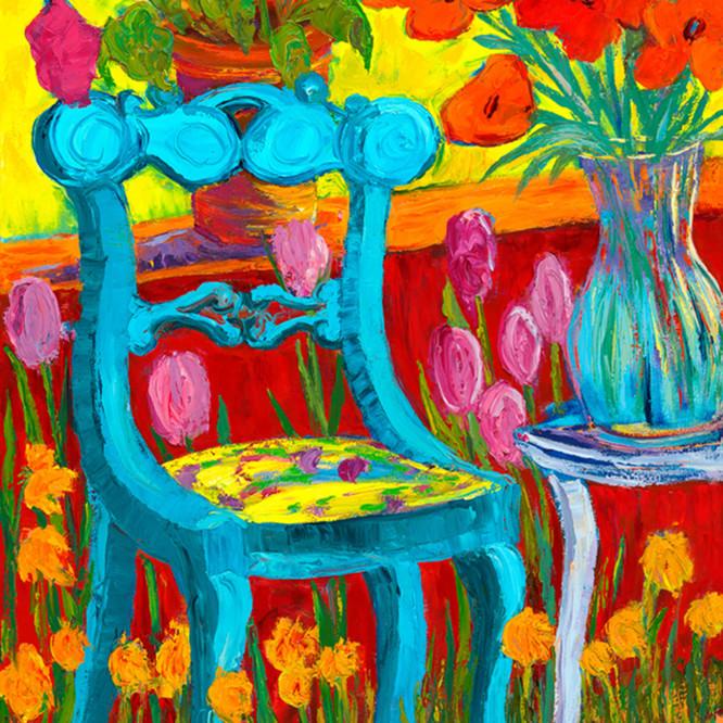 Blue garden chair footrr