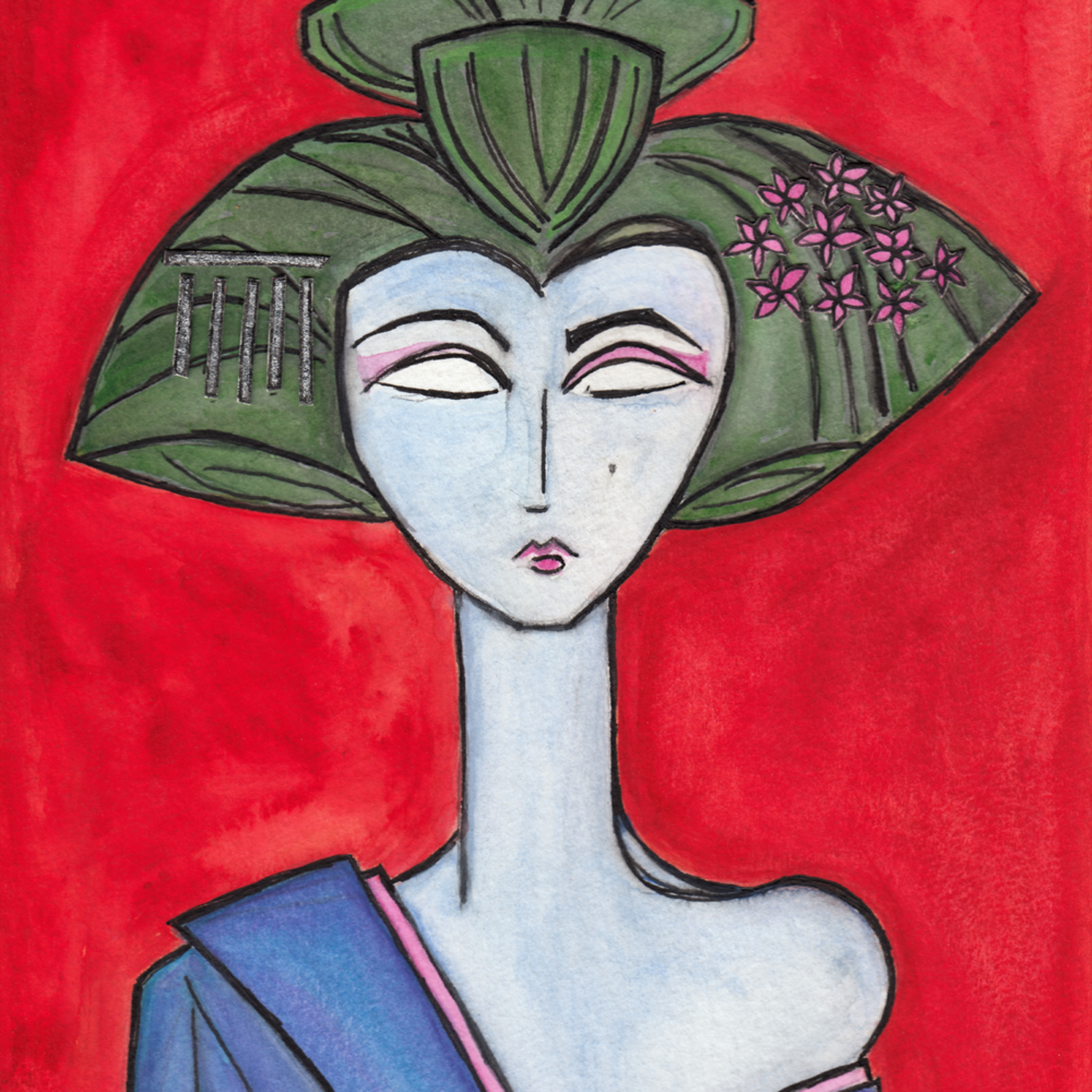 American maiko red background zepeda lds8eg