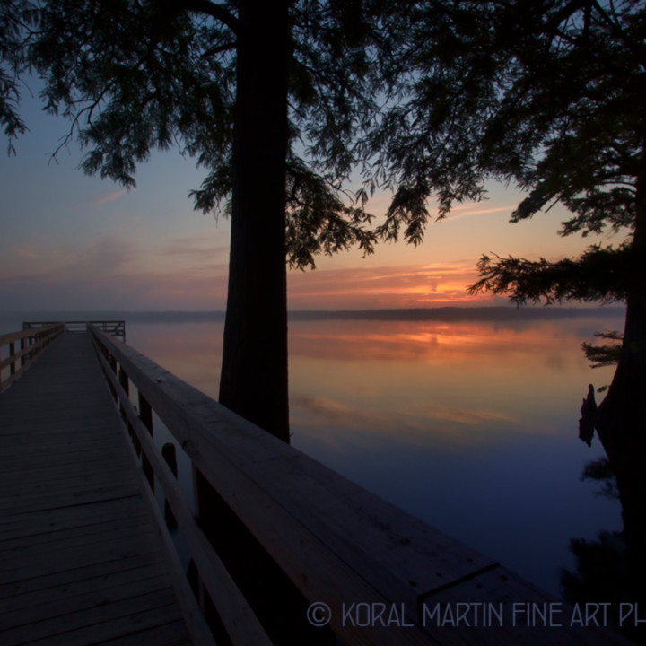 Sunrise dock foggy reelfoot lake 0372 e rlt lf koral martin xs9yxf