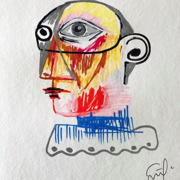 Picasso drawing simon cruz wetpaintnyc gallery sdqte1