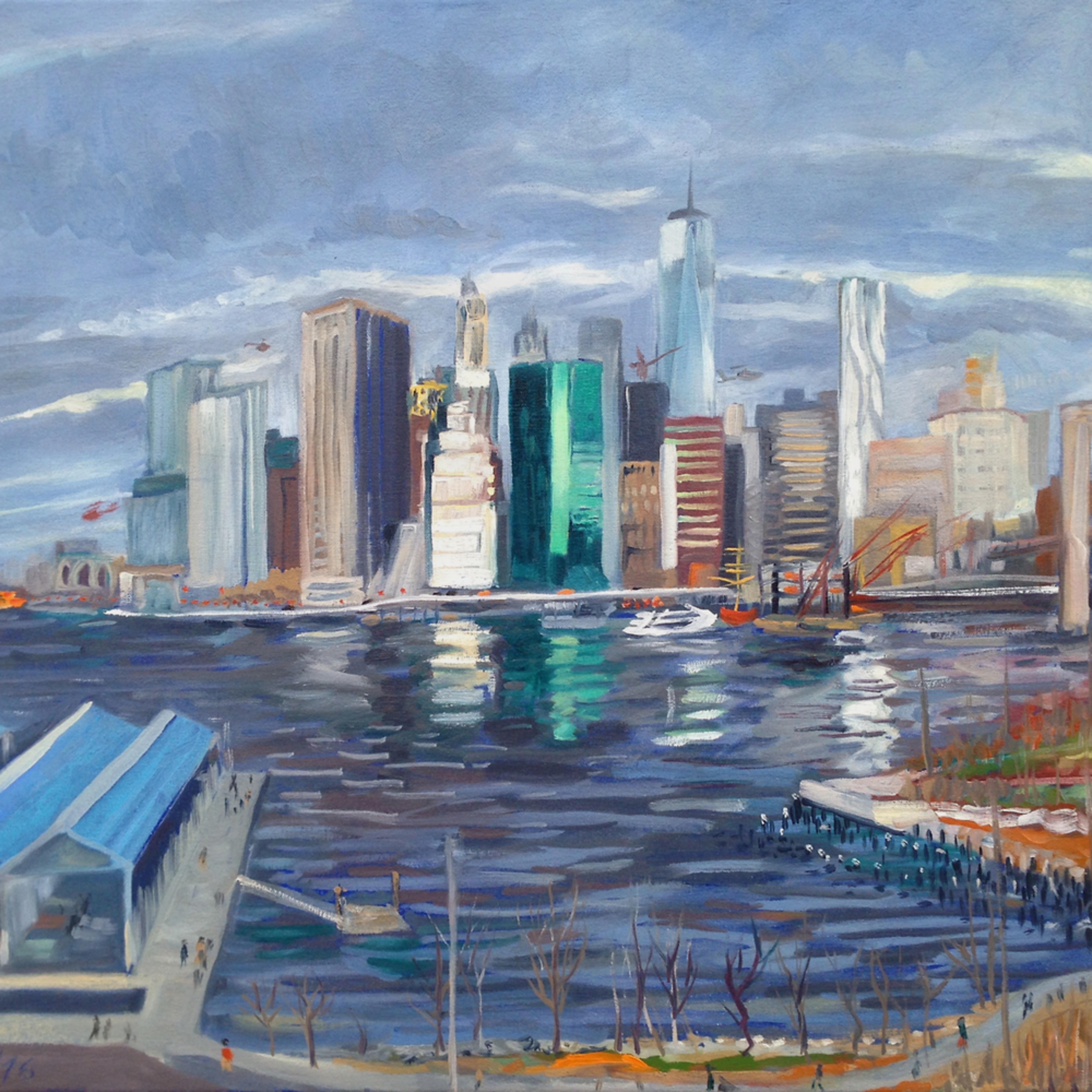 Fidi manhattan skyline painting michael serafino wet paint nyc b75nca