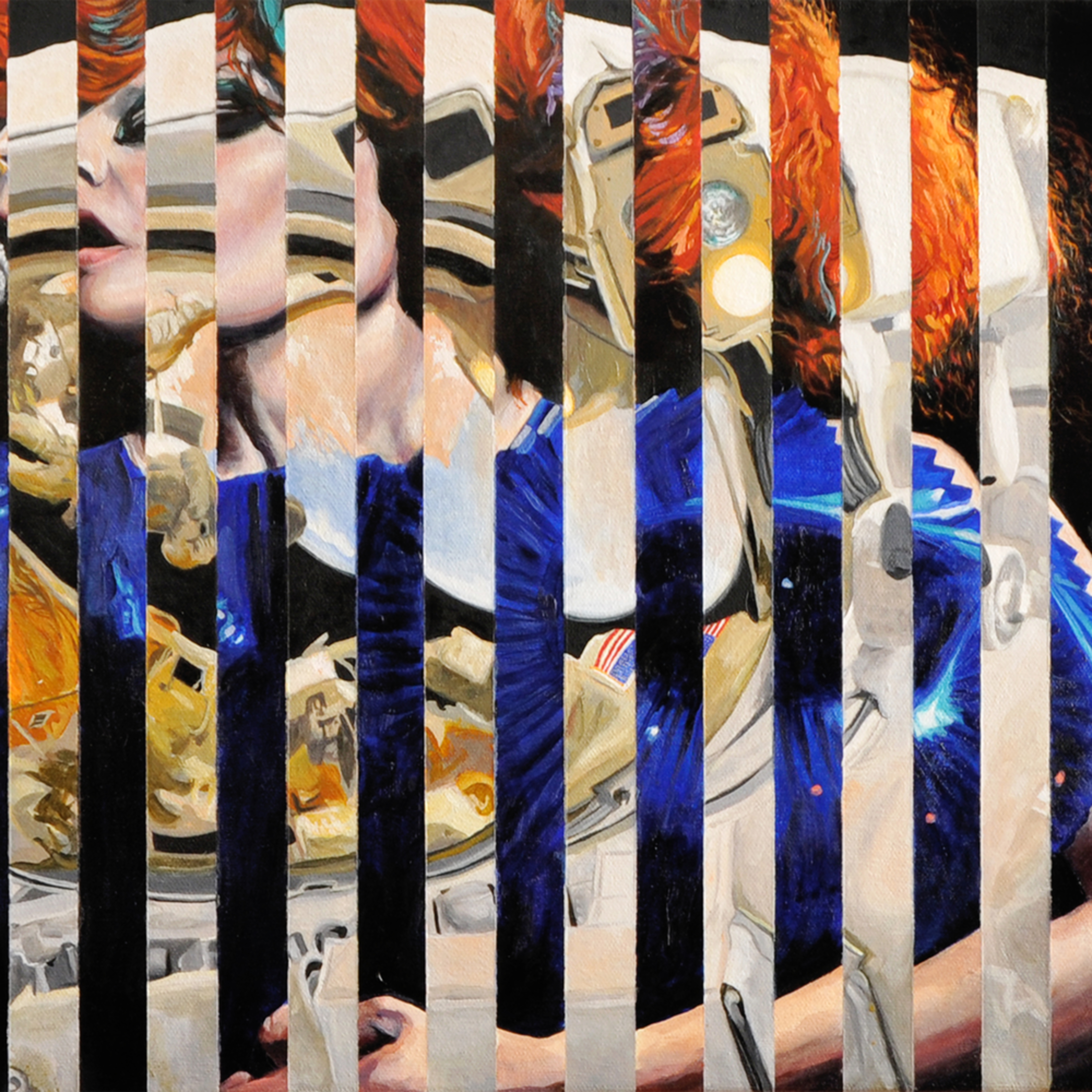 Space cadet and astronaut splice painting artist michael serafino wet paint nyc f2ewkl