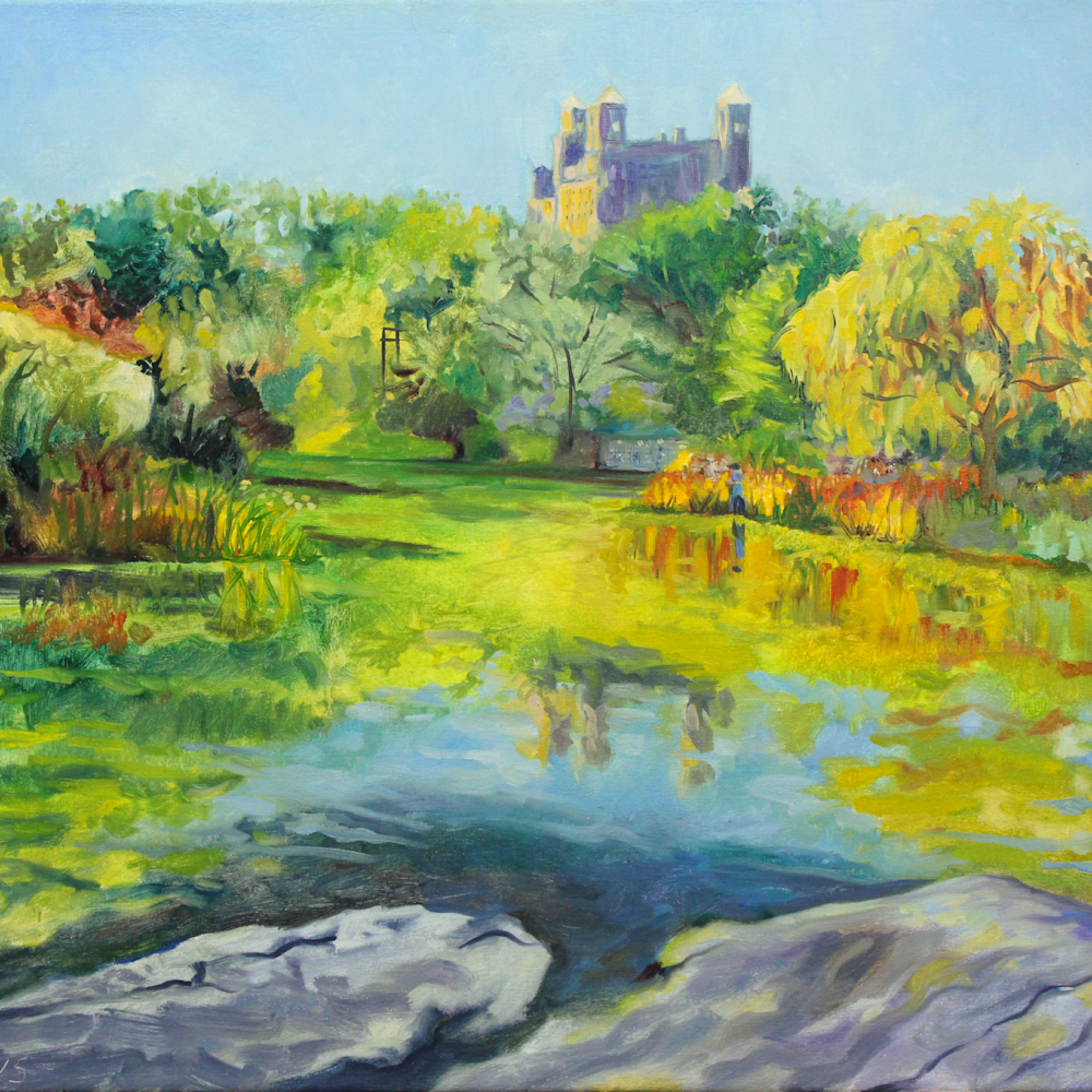 Turtle pond central park painting wetpaintnyc nflnbw