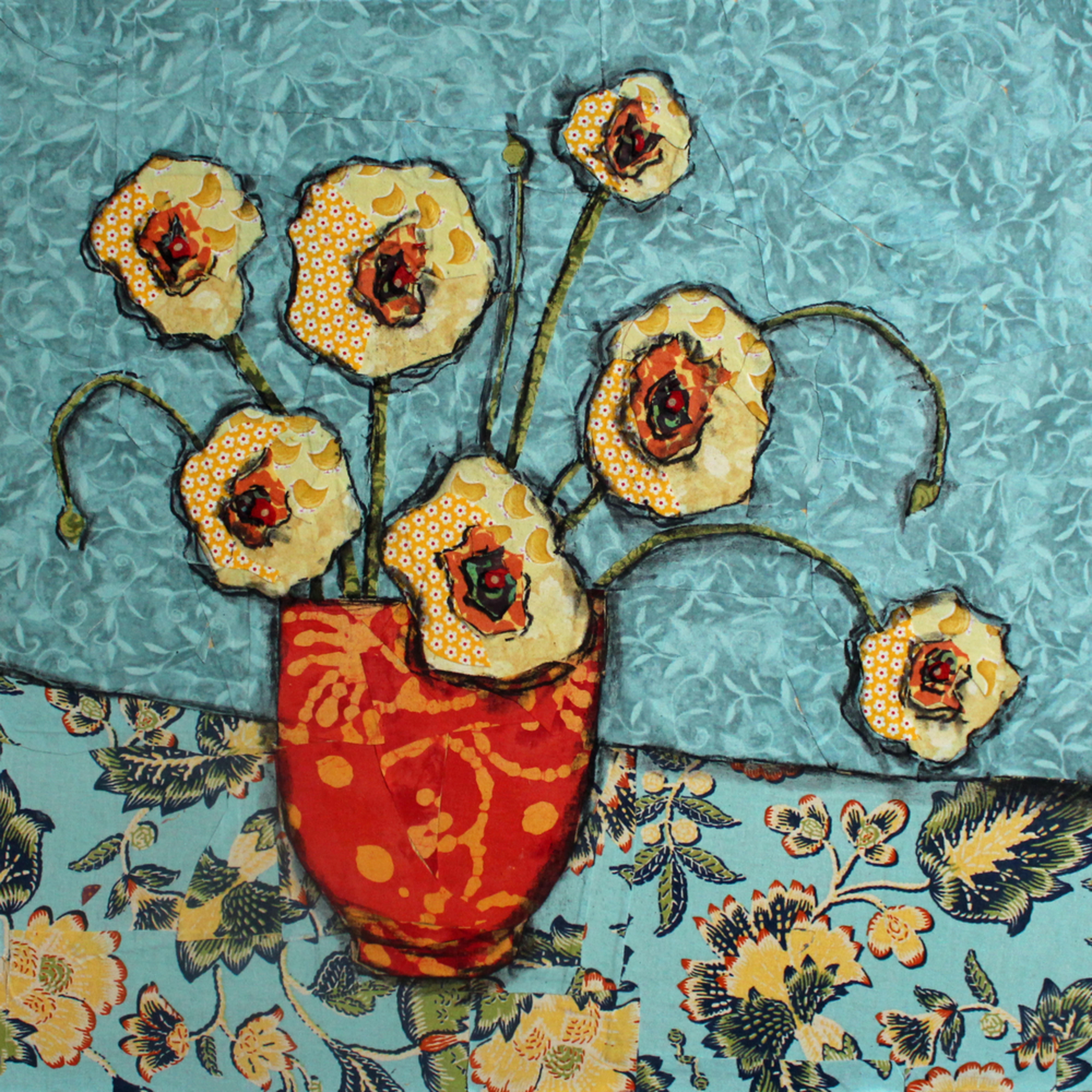 Golden blooms print spvm20