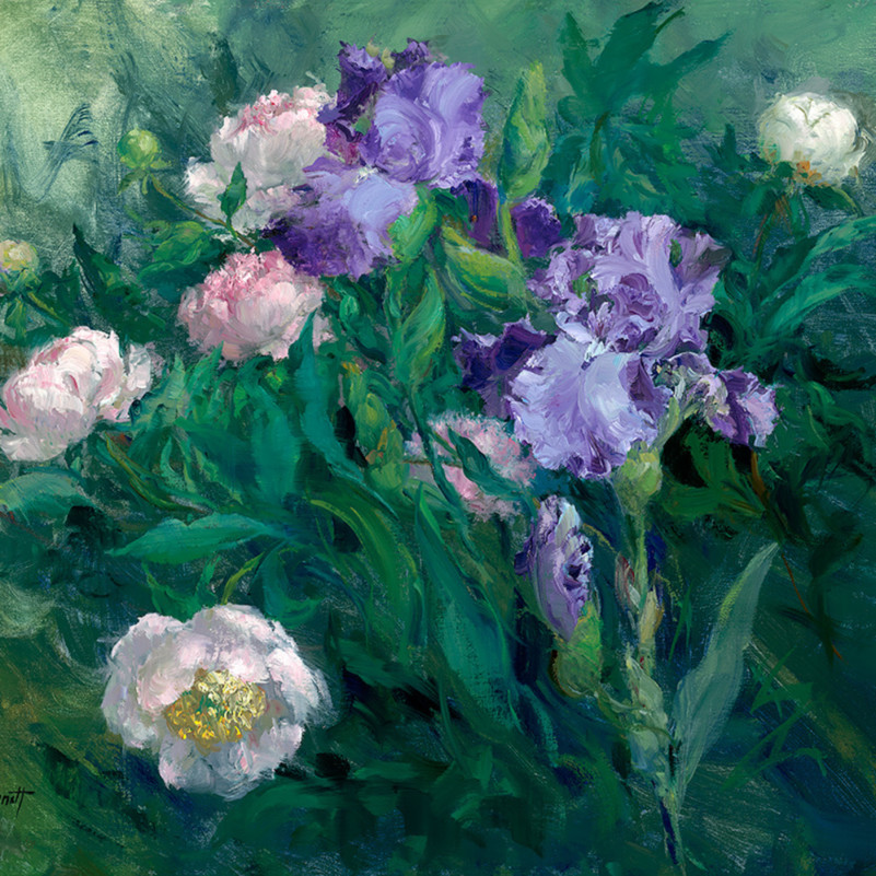 Violet iris with peonies jalwts