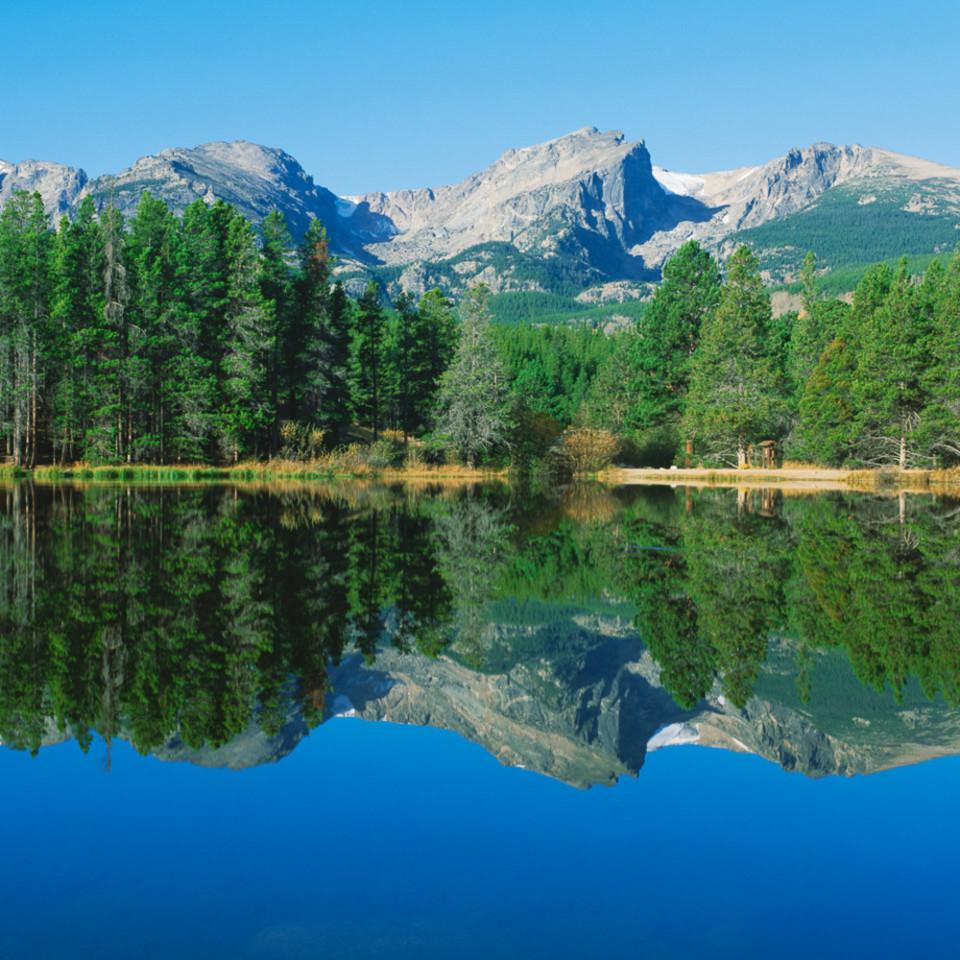 Rocky Mountain National Park Colorado As A Stunning Photo Of A Summer Morning Reflection At Sprague Lake