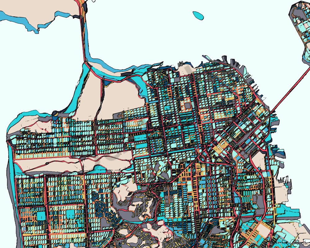 San Francisco CA Art For Sale Map Print of City Abstract Office