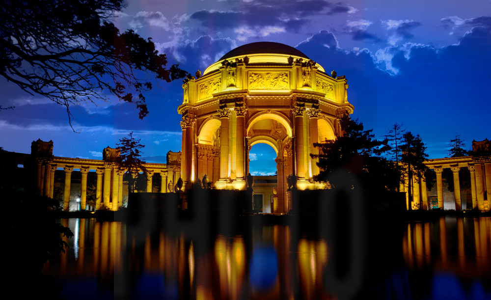 Beautiful Fine Art Paintings and Photographs by Vivian Lo – Picture of Palace of Fine Arts at night. Originals and Prints for sale - VLo Photo