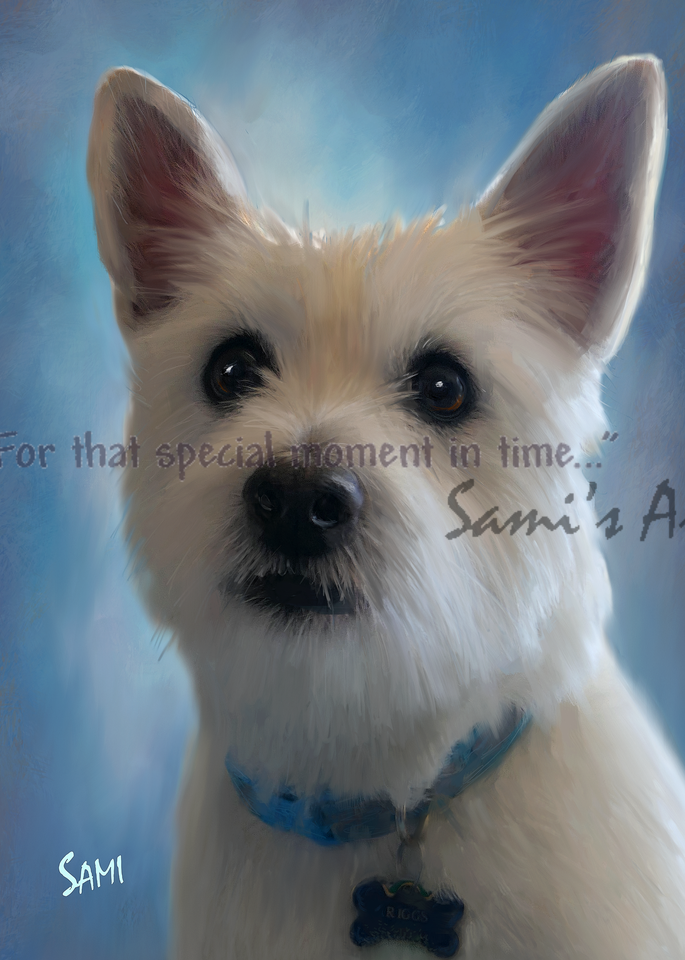 Riggs the Westie Pet Portrait Painting for Sale   Sami's Art Shop