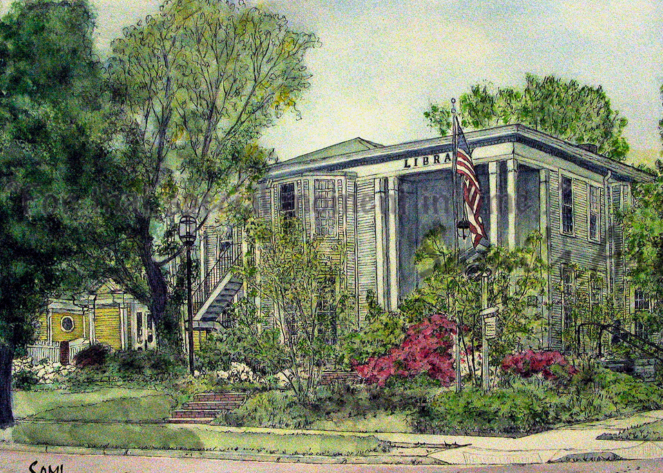 Canal Fulton Library Painting for Sale | Sami's Art Shop