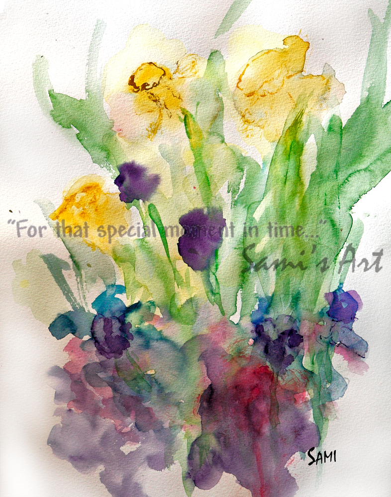 """""""Daffodils & Pansies Art for Sale"""""""