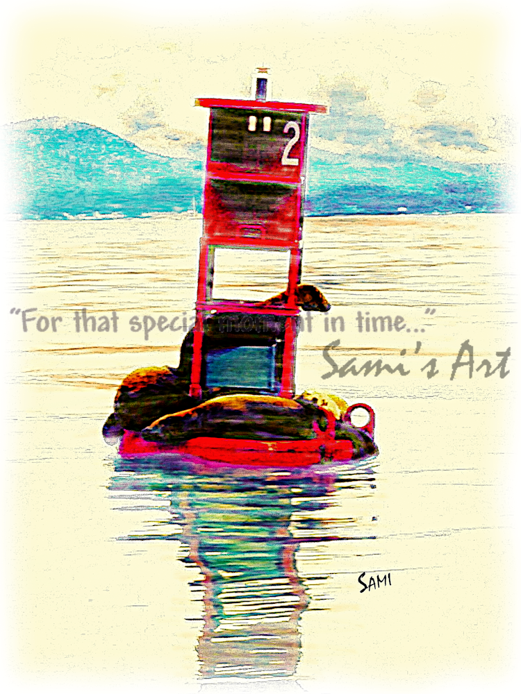 """Seals on Red Buoy Art for Sale"""