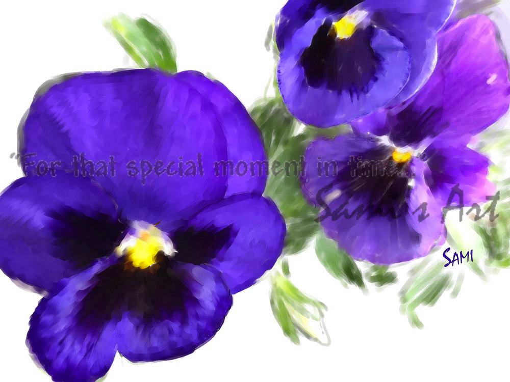 Purple Pansies Painting for Sale   Sami's Art Shop