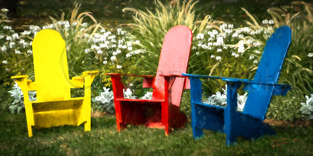 Basin Harbor Red Yellow Blie Chairs Photography Art | Gary Tobler Fine Art