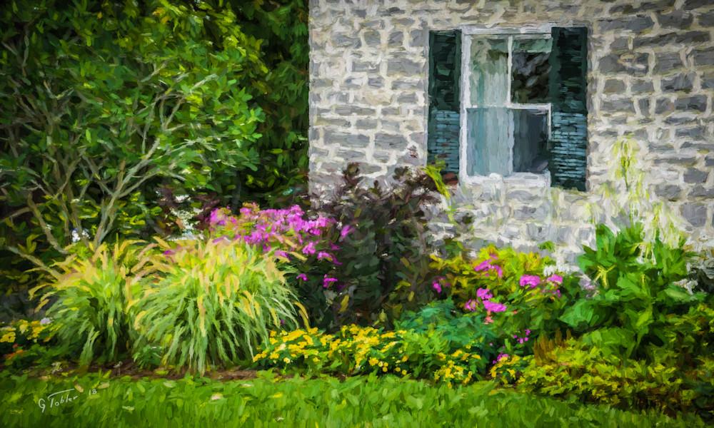 Basin Harbor Stone Blg Flowers Photography Art | Gary Tobler Fine Art
