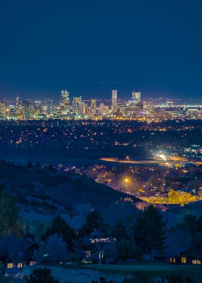 Denver Night Skyline Photo View of Broncos Mile High Stadium
