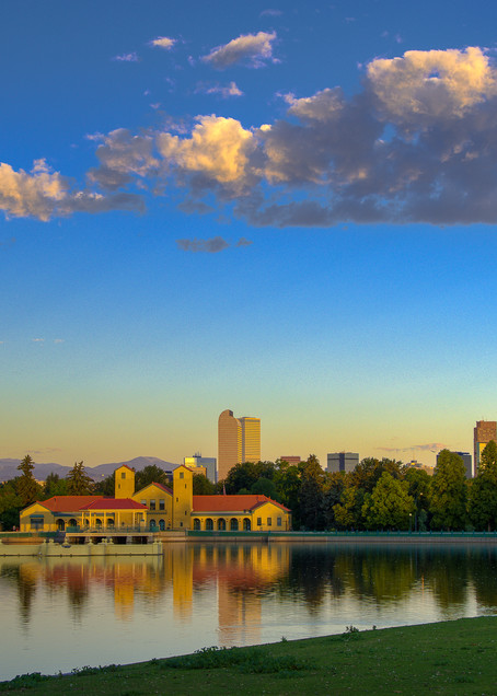 Denver's City Park and Boat House After Sunrise