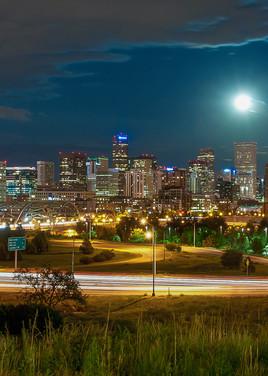 Panoramic Photo of Denver Night Skyline & Elitch Gardens Fireworks