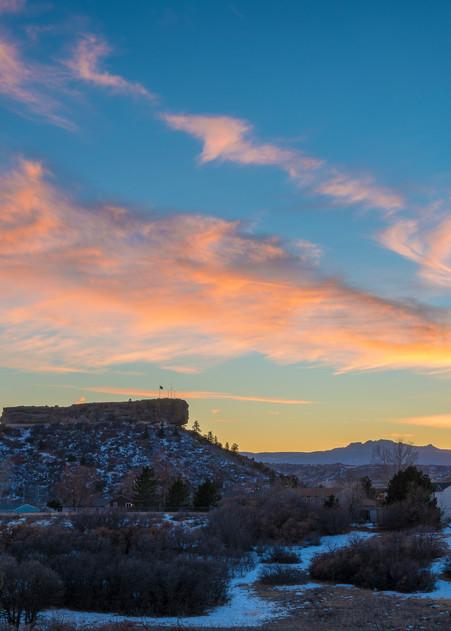 Photograph of Castle Rock Colorado Winter Sunset Blue Sky Pink Clouds